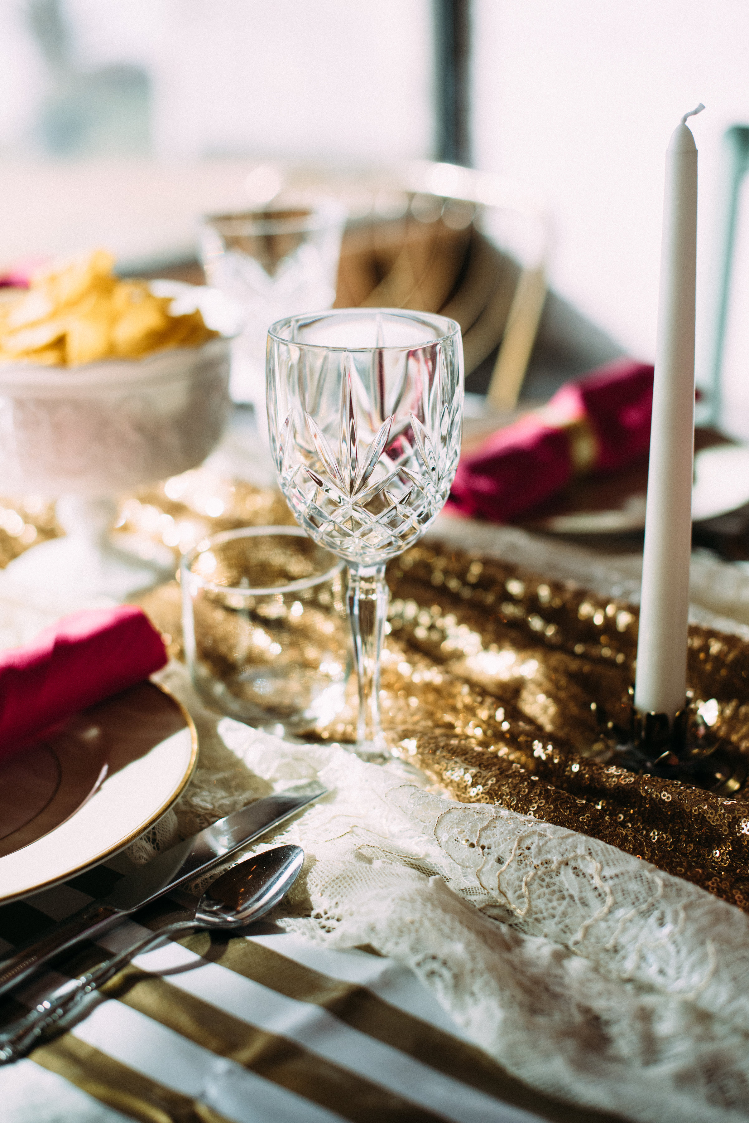 Clear cut glass goblets add so much to class up a table - guess what, there is a gold mine of them at most second hand stores!