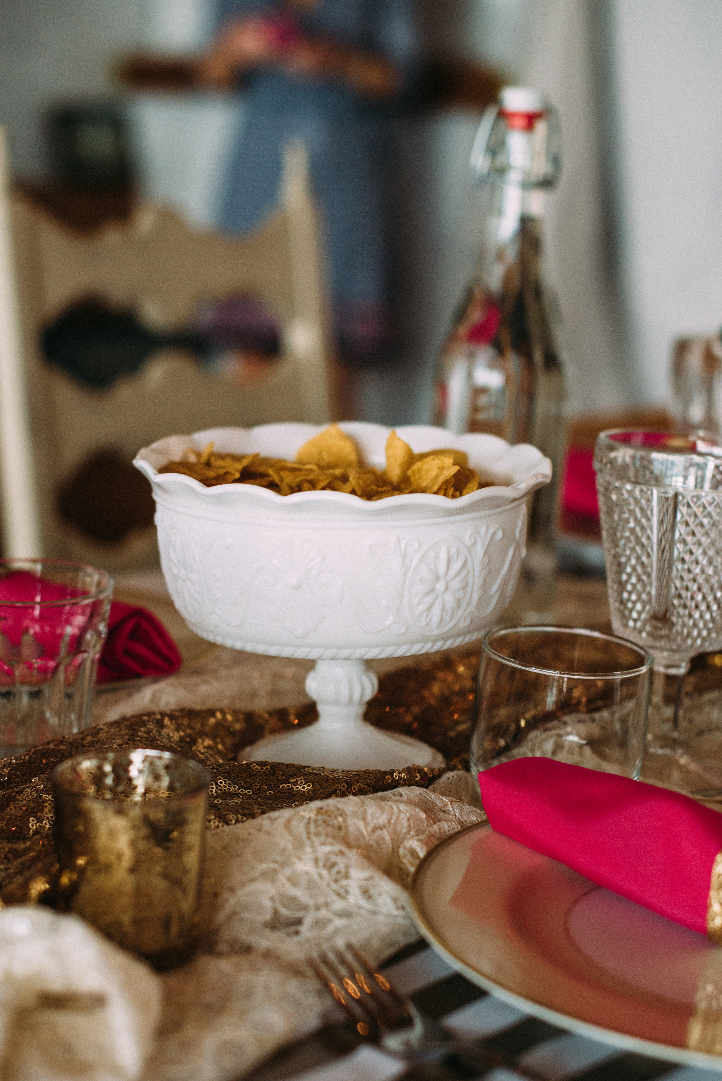 Tortilla chips in a footed milk glass bowl taste better - it's a fact ;)