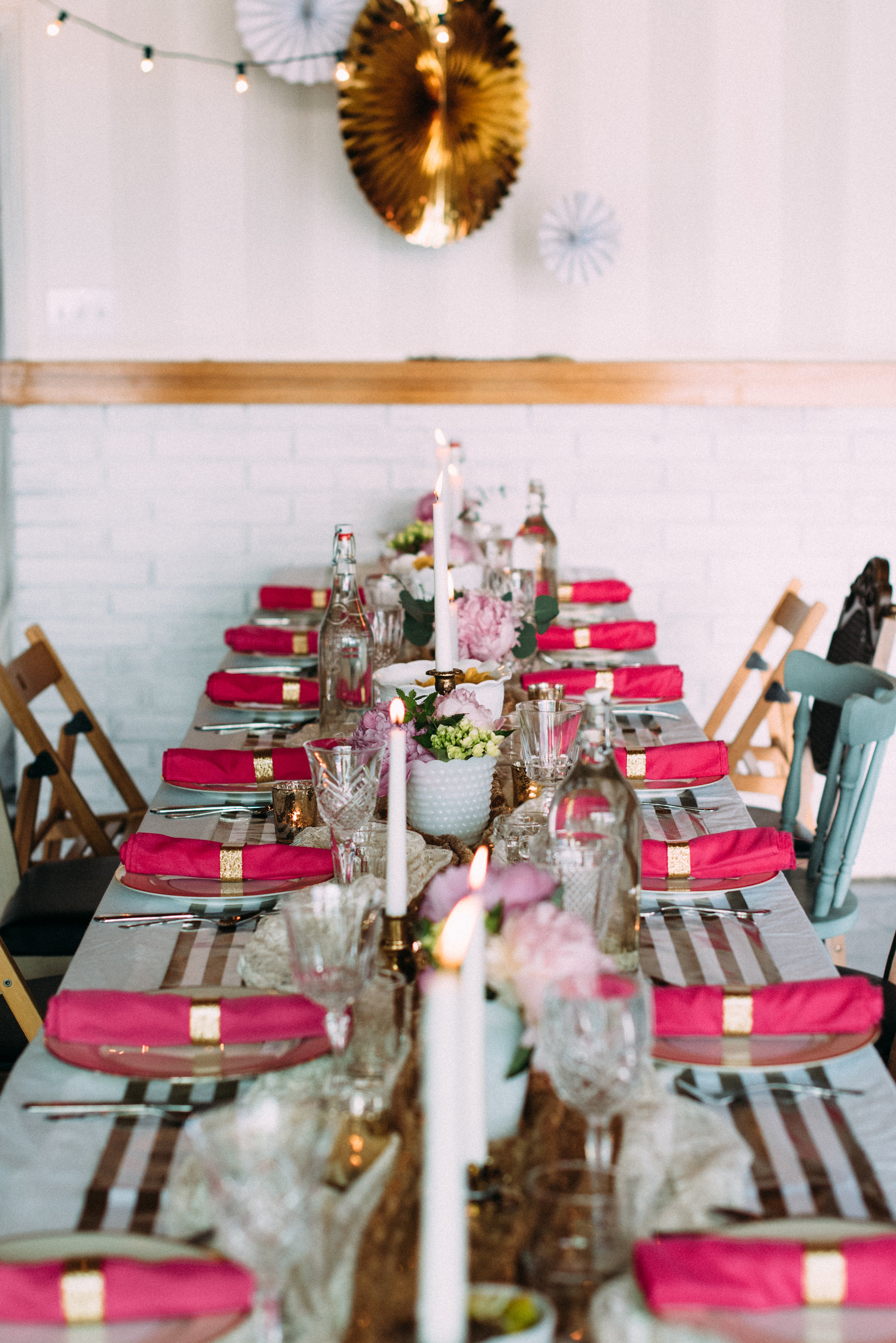 Filling a table with decor is lovely!! But make sure you have space for the food and that guests can easily see over and around the centerpieces