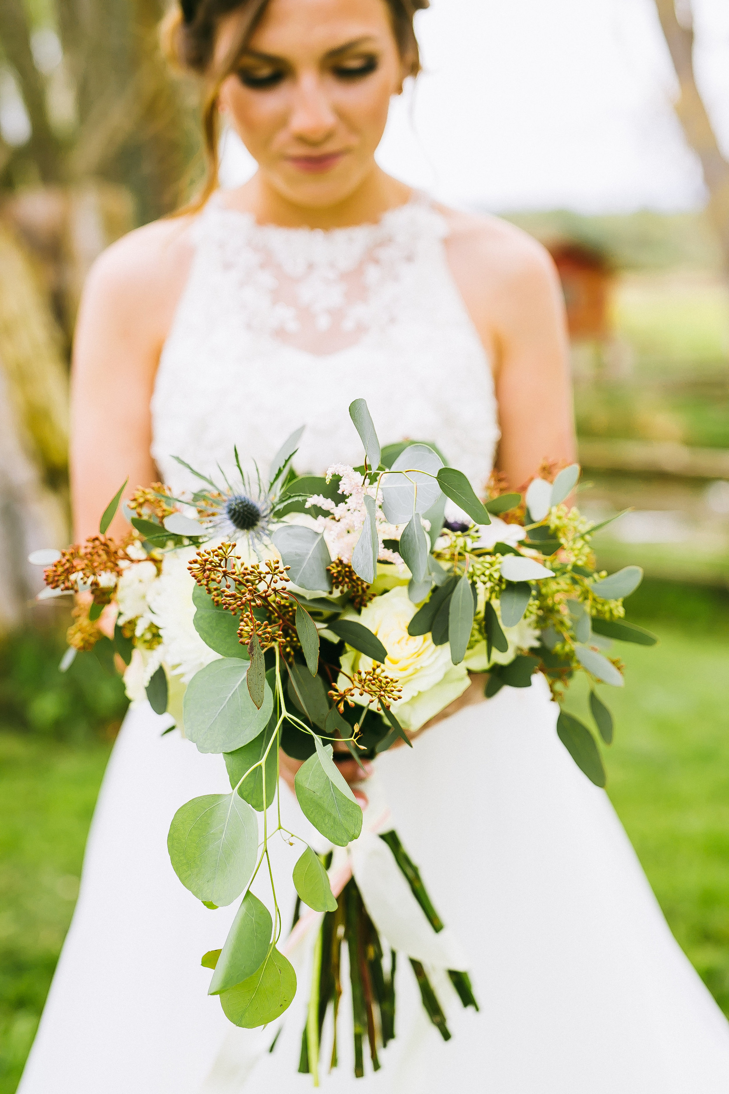 We created her bouquet with seeded eucalyp