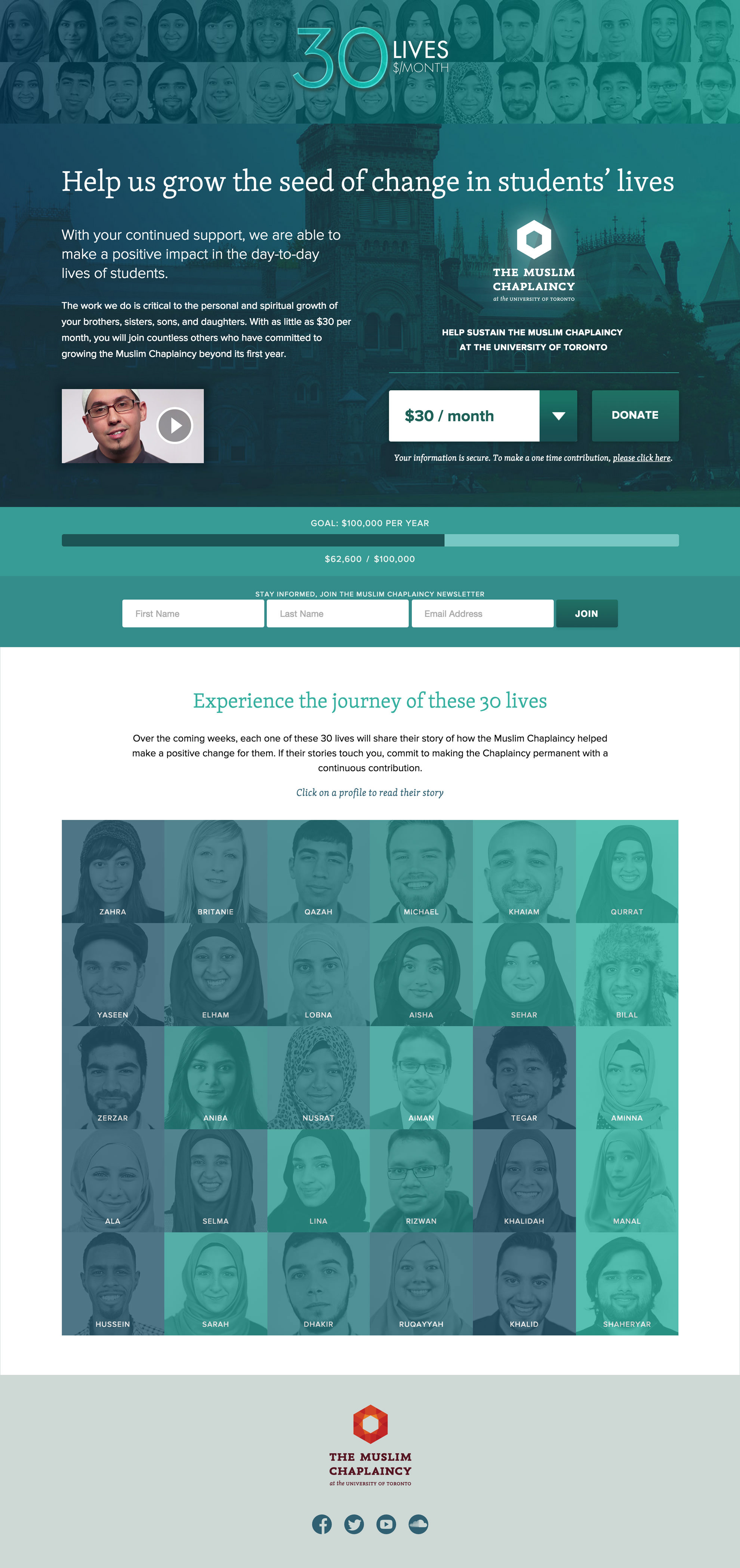 "Home page. ""30 Lives"" campaign design:Fiqri Ramli Interface design: Umar Shahzad RGD   Photography: Qurrat Ansari"