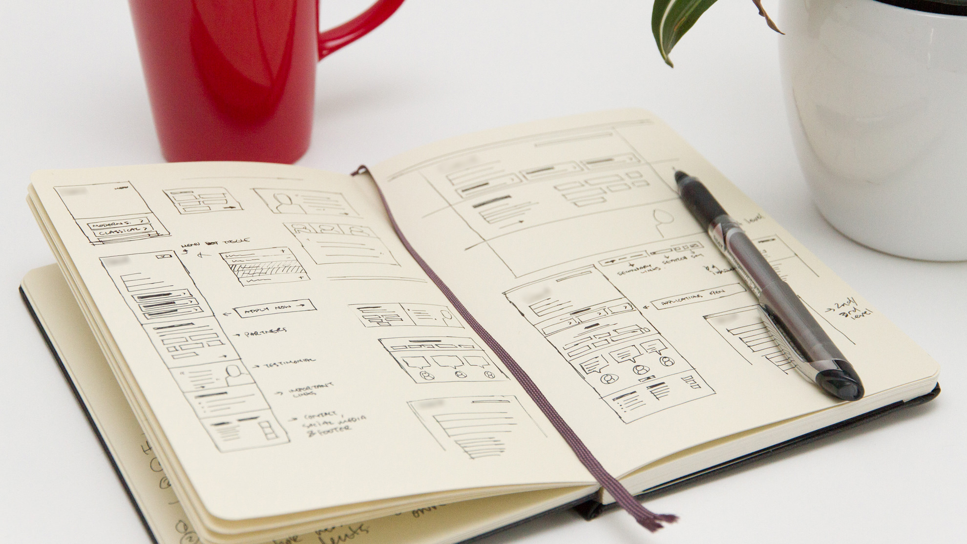 [above] Sketches and explorations. [below] Responsive wireframes.