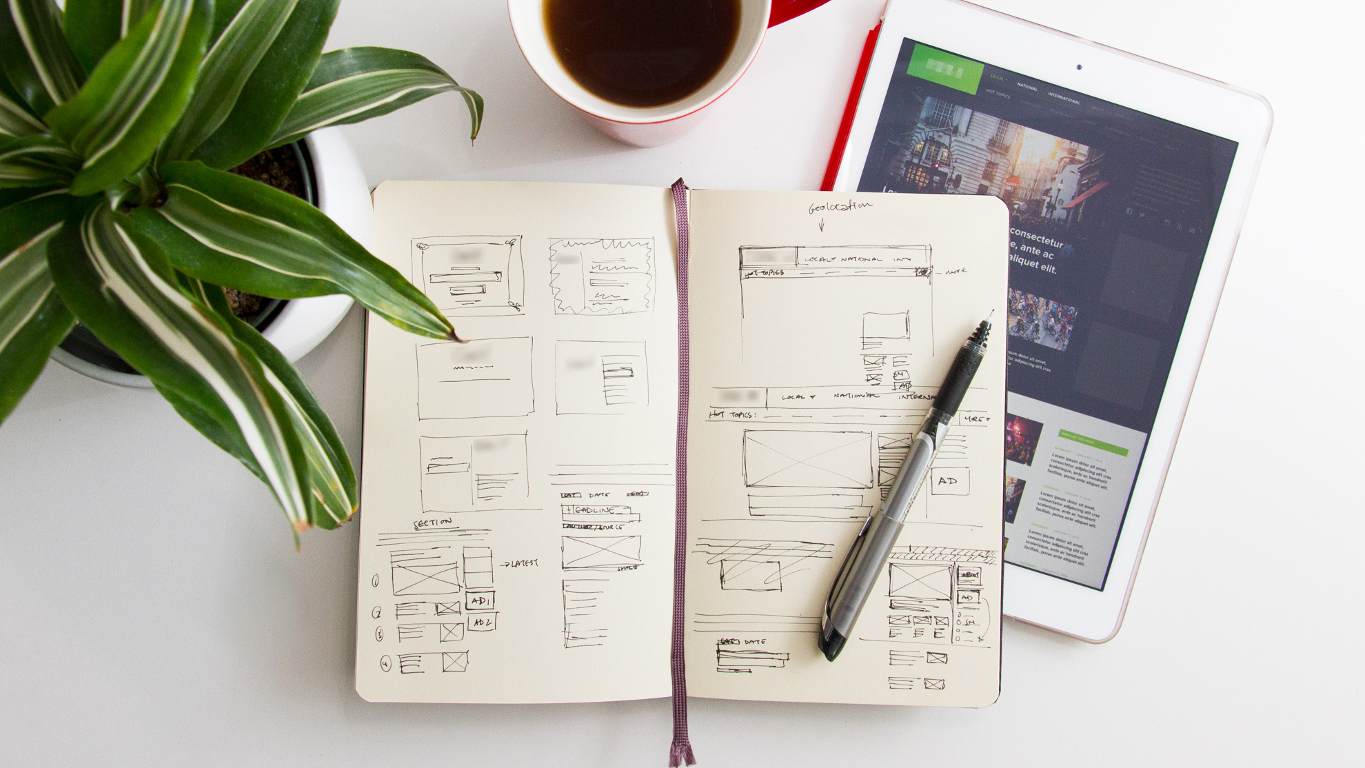 Idea generation and responsive wireframes.