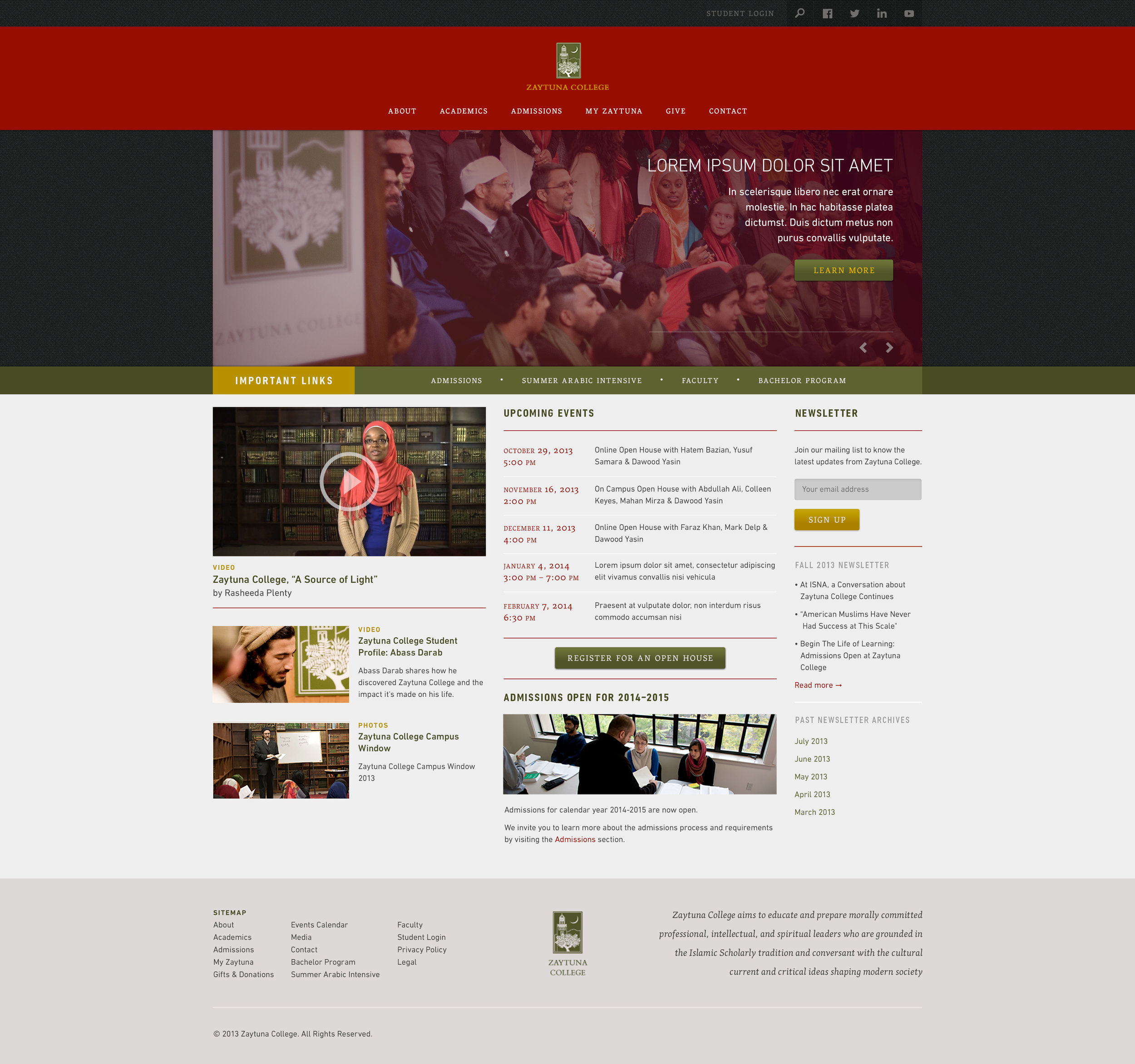 An unused concept from 2013,as part of a pitch to redesign the website of  Zaytuna College .