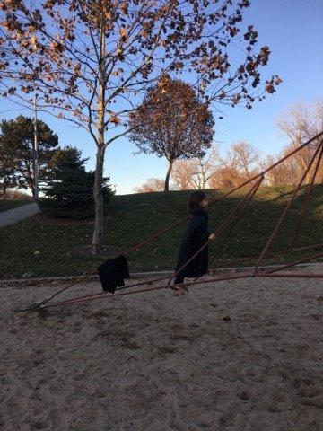 Robert climbing the ropes