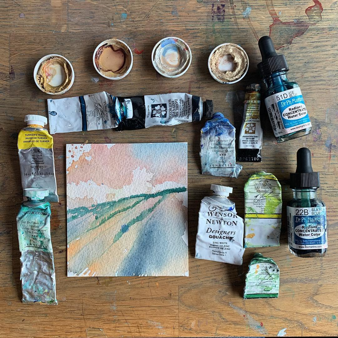 Paint - So many kinds to choose from now-a-days…in no particular orderHandmade Small Batch Artisan WC in hard pans:- Ruby Mtn. Paint Co.- Pfeiffer Art Supply- Case for MakingLarge Scale Paint Co's (available via most retailers):M. Graham & Co. (their Sap Green is my go to) very affordable range tooSennelier - the large tubes are awesome for going bigDaniel Smith (highly rec. their dot card) - love the line of interference colorsWinsor & Newton (only place to get Turner's Yellow)Holbein- lovelySchmincke- lovelypost your suggestions in the comments!