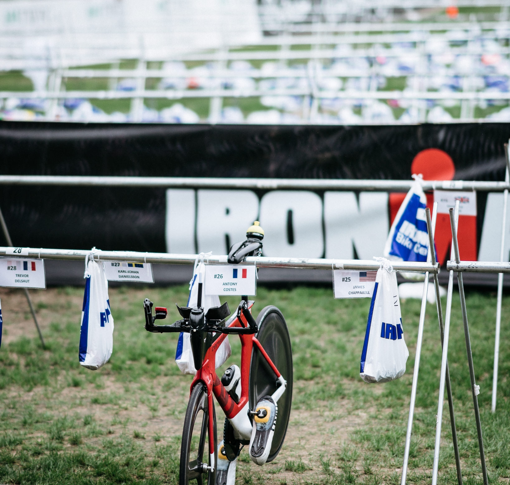 Antony's lonely bike after coming into T2 second at IMTX.