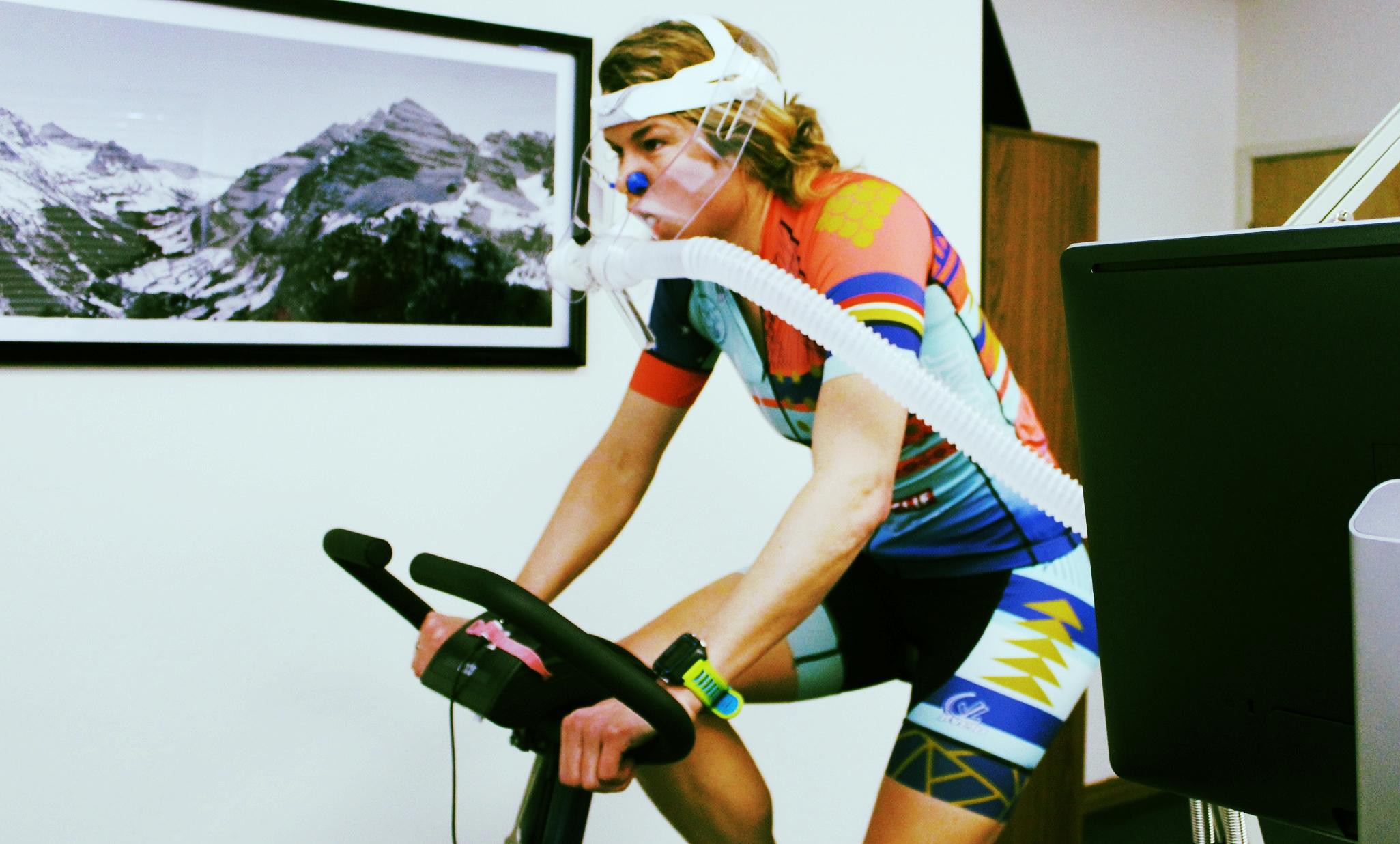 Professional Xterra triathlete Kara Lapoint doing a VO2 Max test