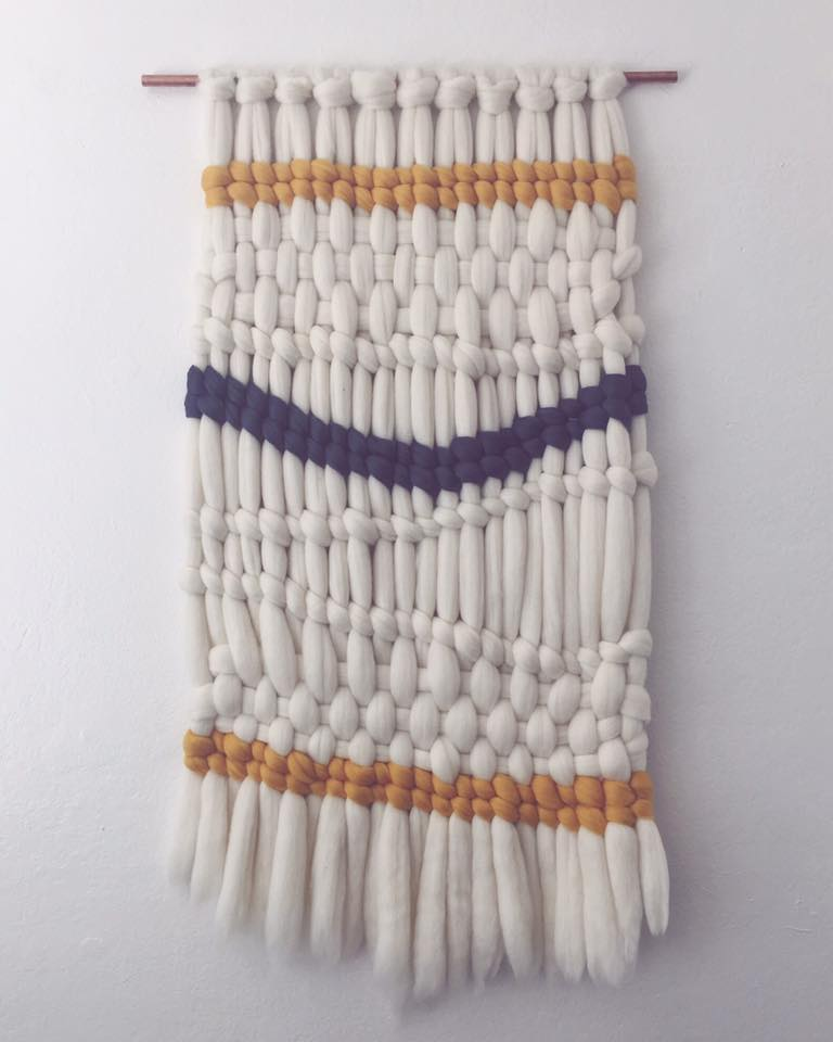 Large weaving made from wool roving