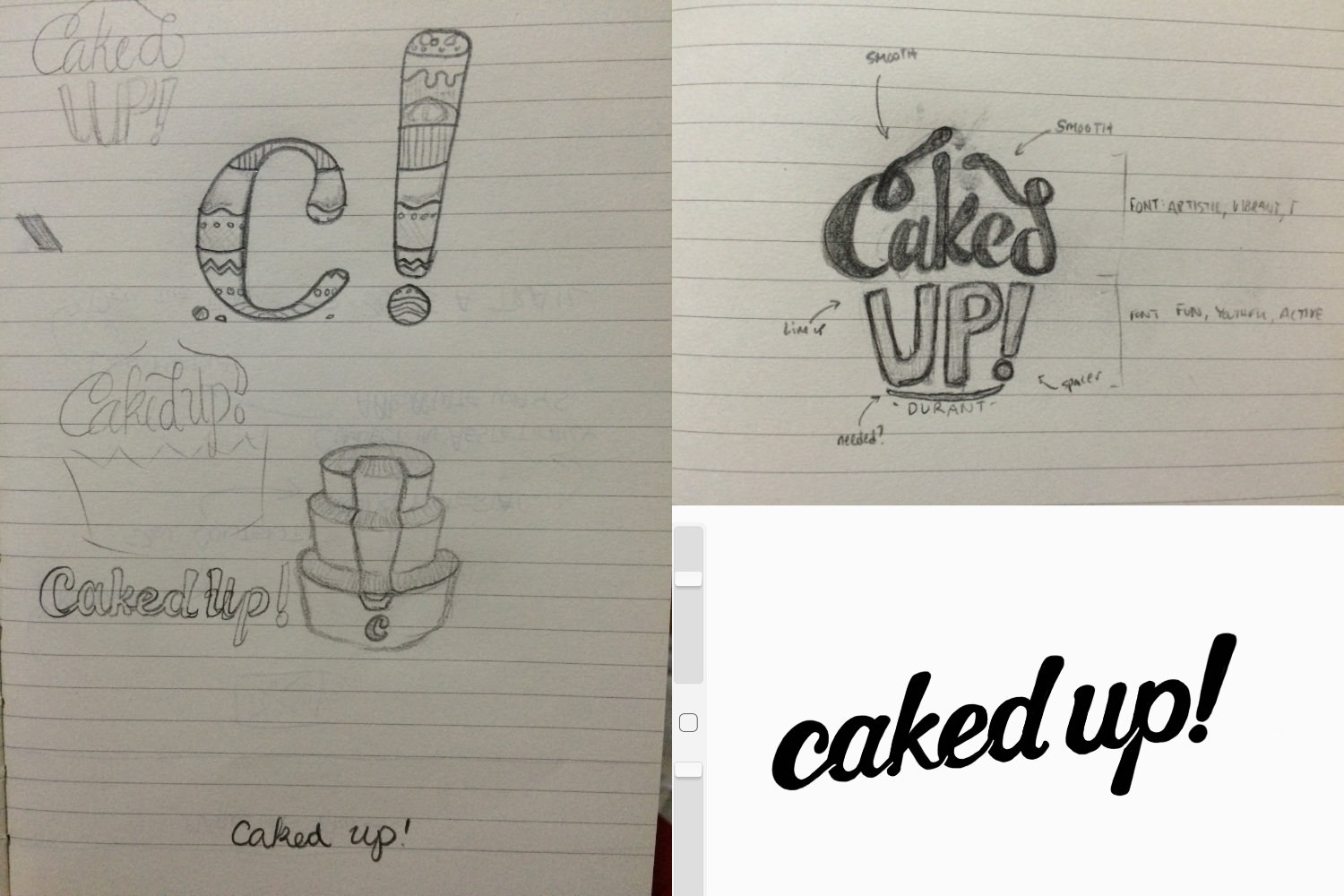 """Sketching Phase – Branding """"Caked Up! Durant"""" – http://pacificletters.com/news/branding-design-caked-up-durant"""