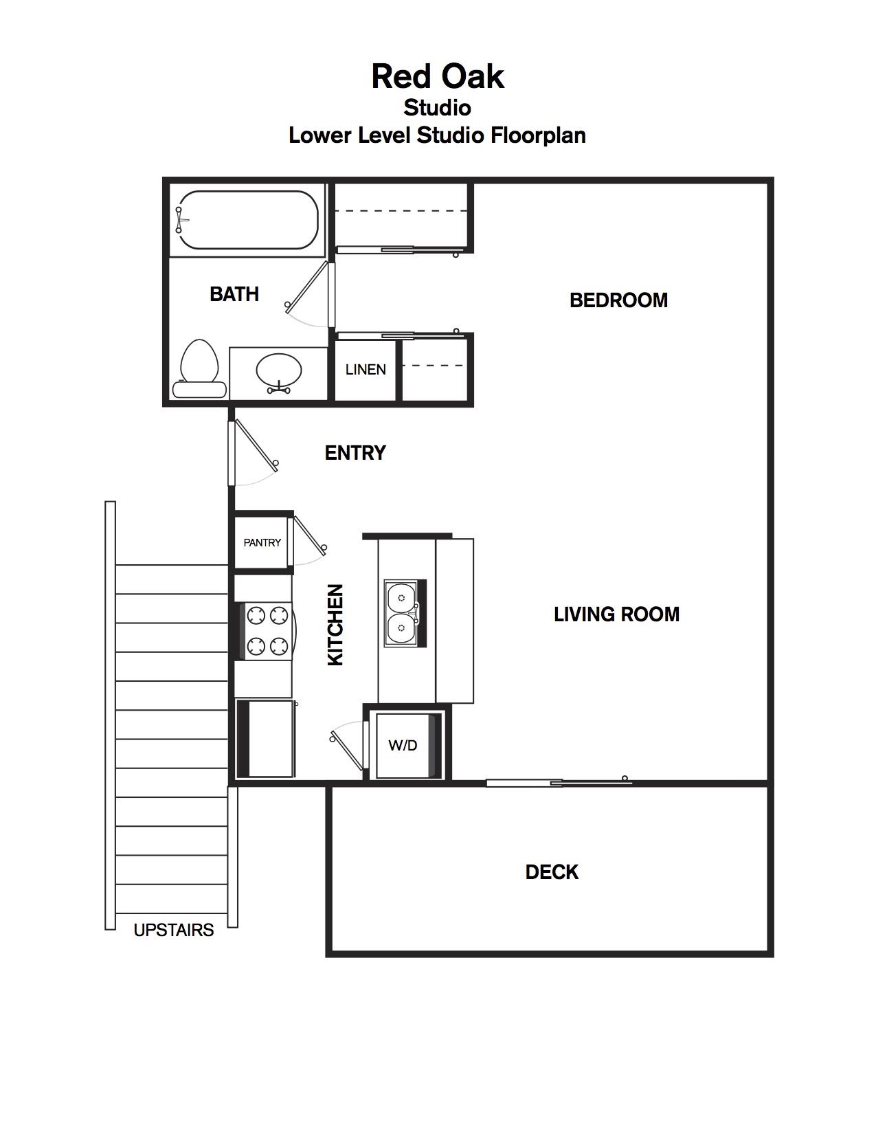 Red Oak - lower level studio floorplan