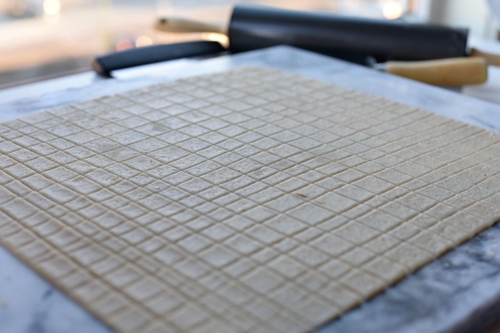 Chin Chin dough cut into squares