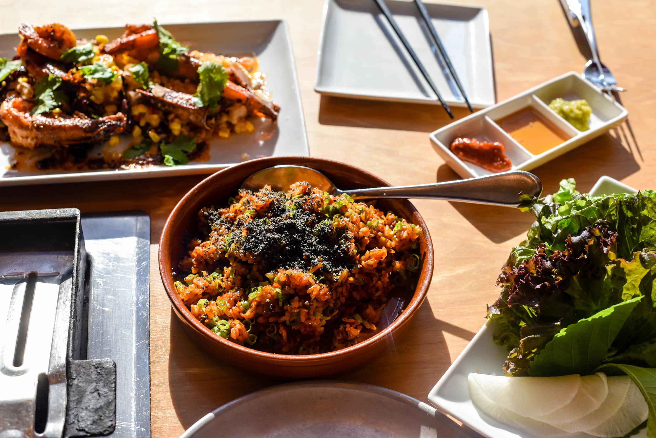 Hawaiian prawns and fried rice