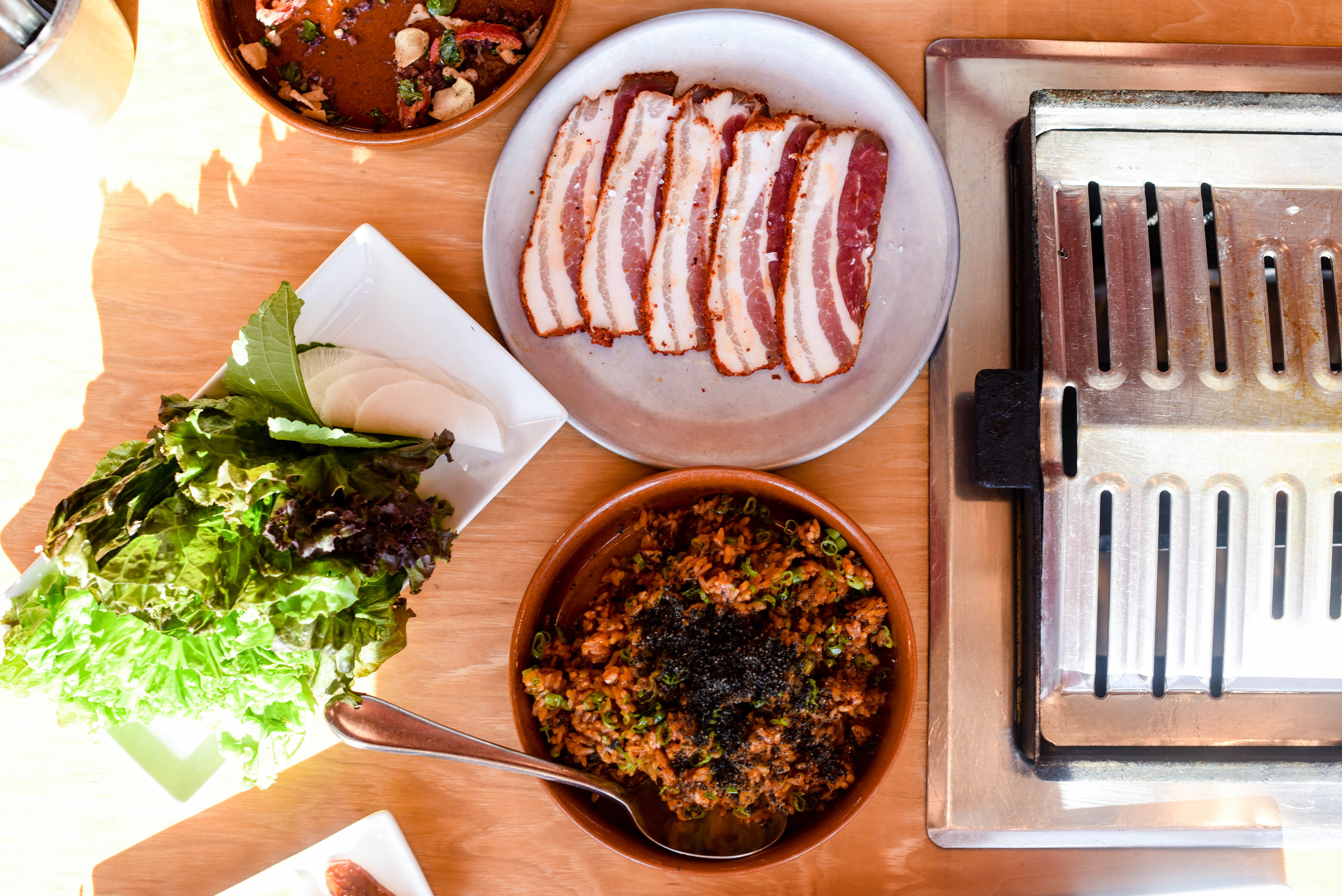 fried rice, pork belly, ssam