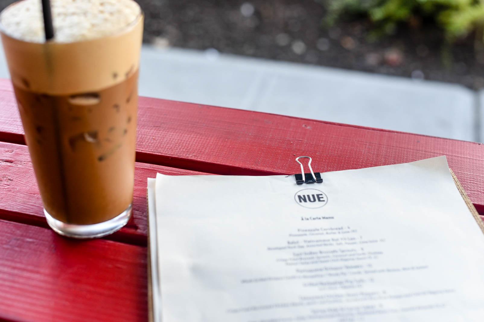 Nue menu and vietnamese iced coffee