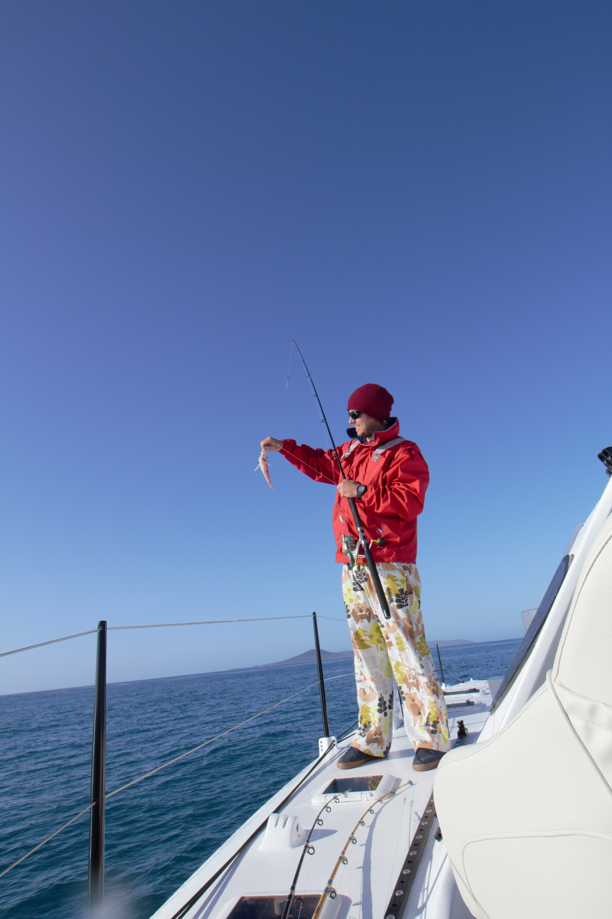 The famous fishing pajama pants ... and the mysterious one Spotted Puller.