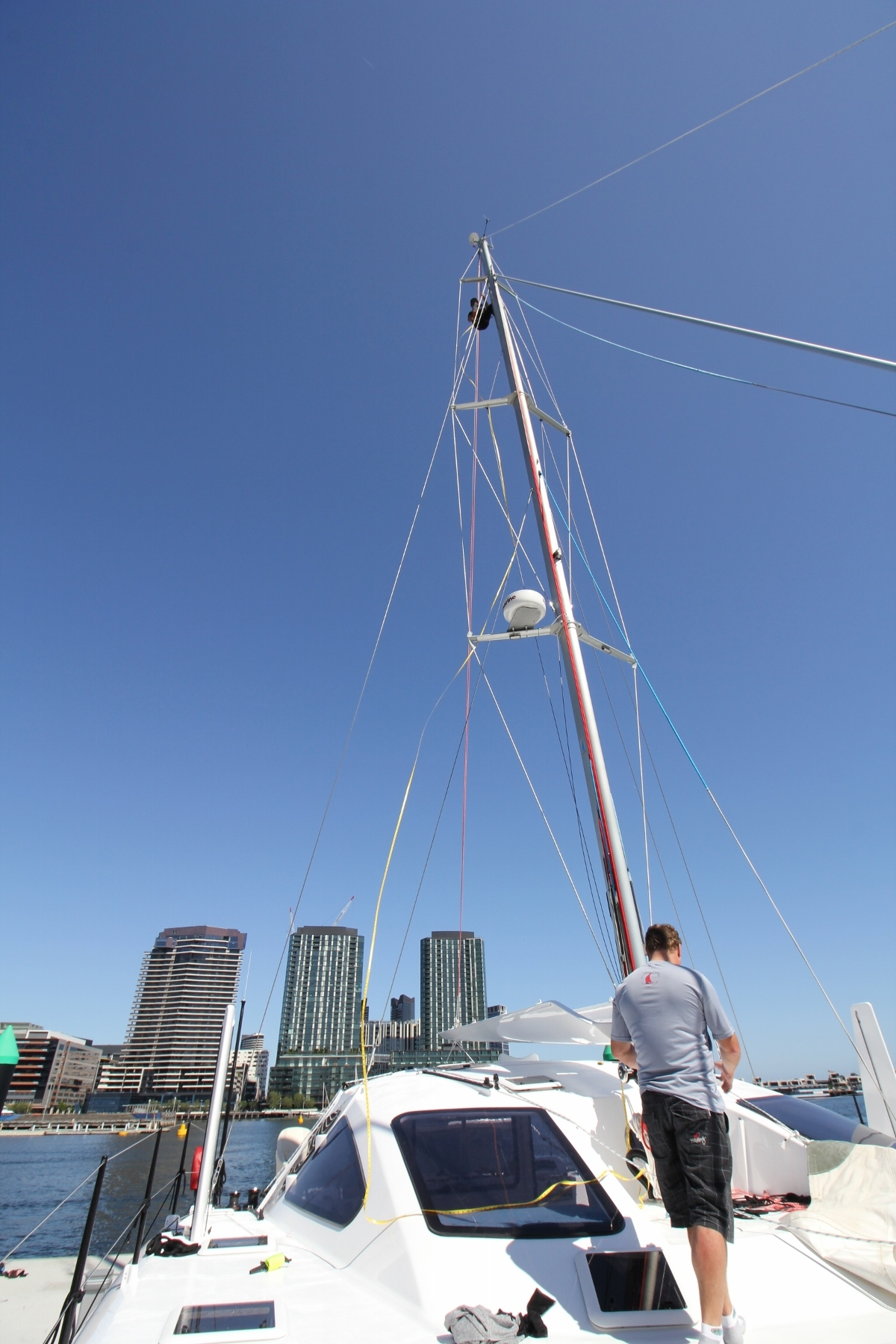 Rob Meizer from Ullman Sydney came down and completed the measure up for the sails. The time spent to do the physical measure up rather than building the sails off the drawings will make for the best fit and easy use of ROAM's sail wardrobe.