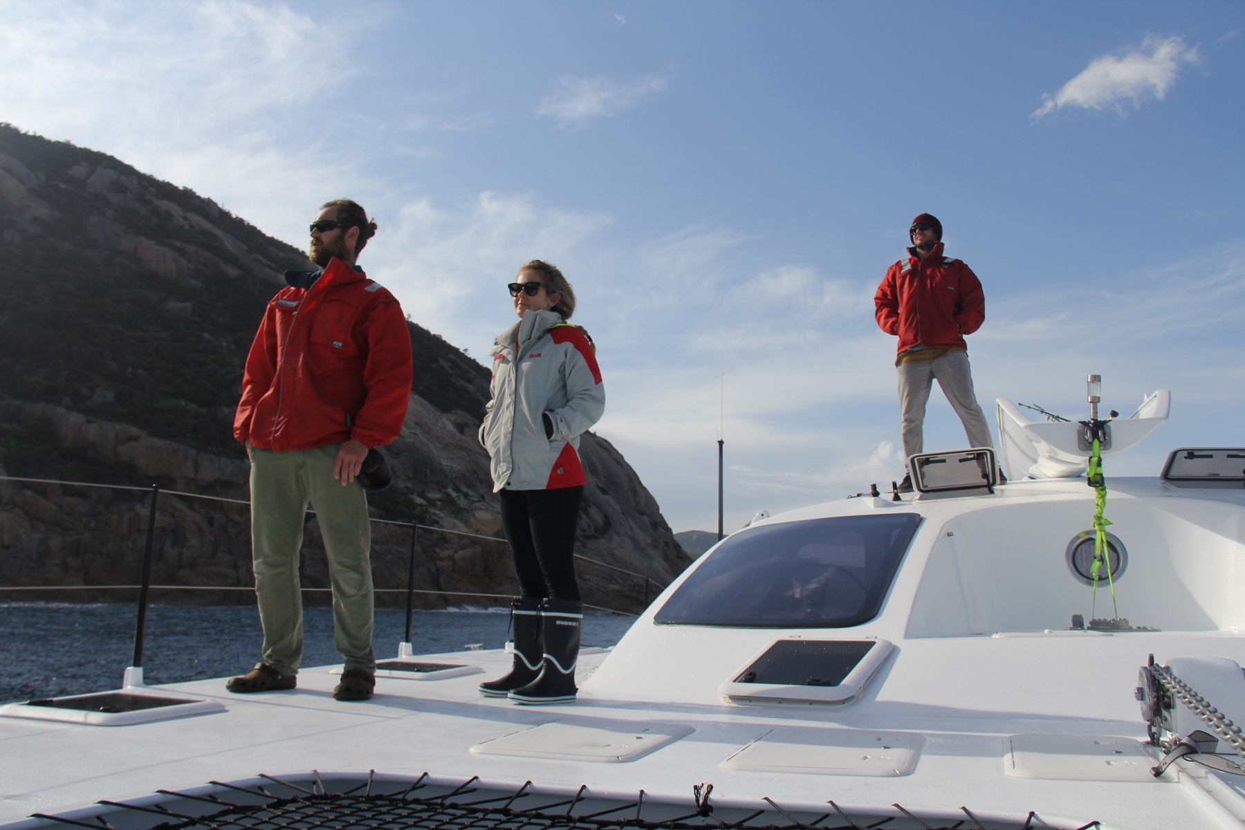 Joel , Liss and Roland taking in the views as we skirt up the West side of the Prom.