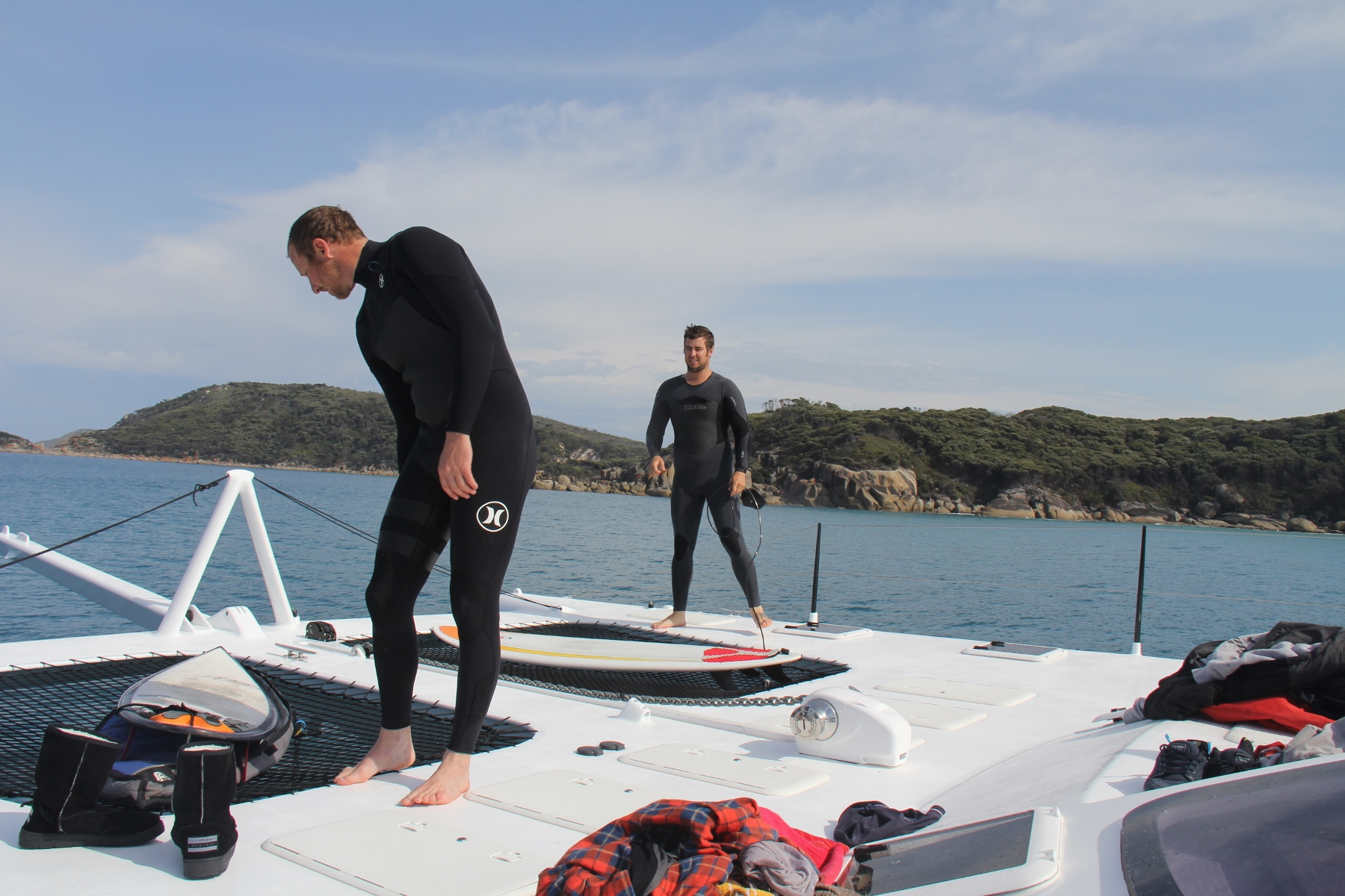 Benn and Roland getting set to catch a wave in Victorian waters .