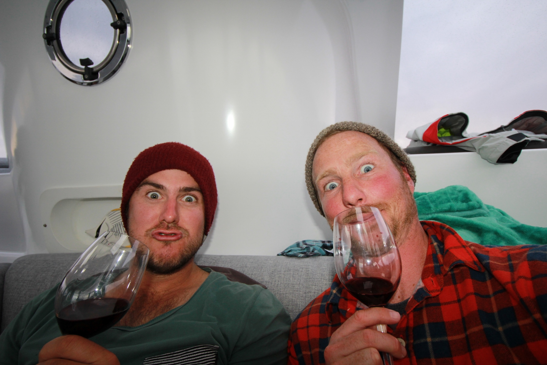 Sorry lads had to do it .... wine connoisseurs , Roland oxygenating the wine and Benn sniffing the aromas.