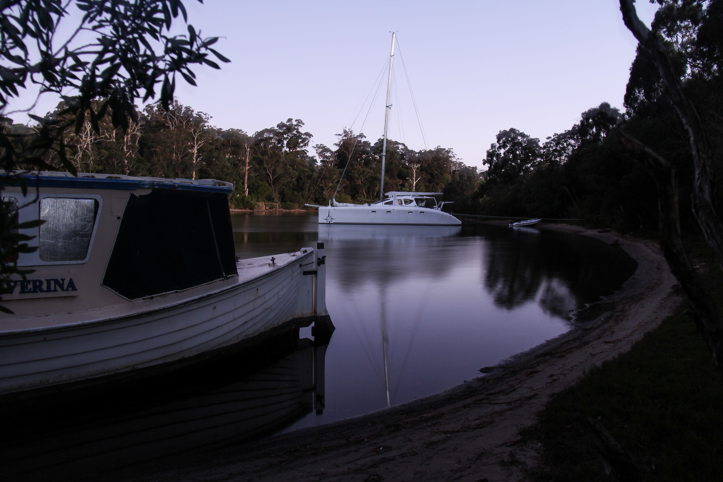 Still night in Boxes creek, not a ripple on the water.