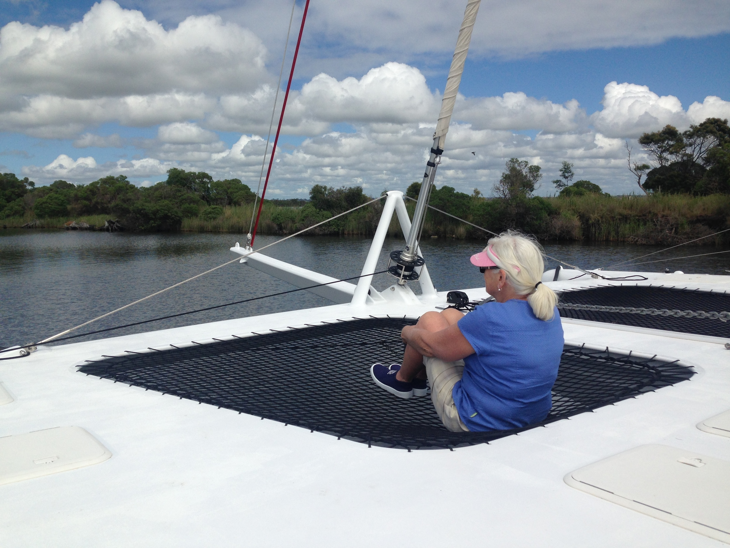 Lois taking in the scenery from the nets, as we cruise up the Mitchell river.  Take a look at some of the beautiful scenery of the Gippsland lakes on  Andy's Blog