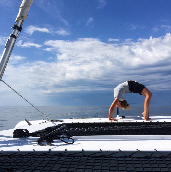 Just casually having a yoga session on the deck as we left Lakes and started for Moruya.. Making the most of any opportunity to fit in a good yoga stretch session or  CrankIT suspension training.