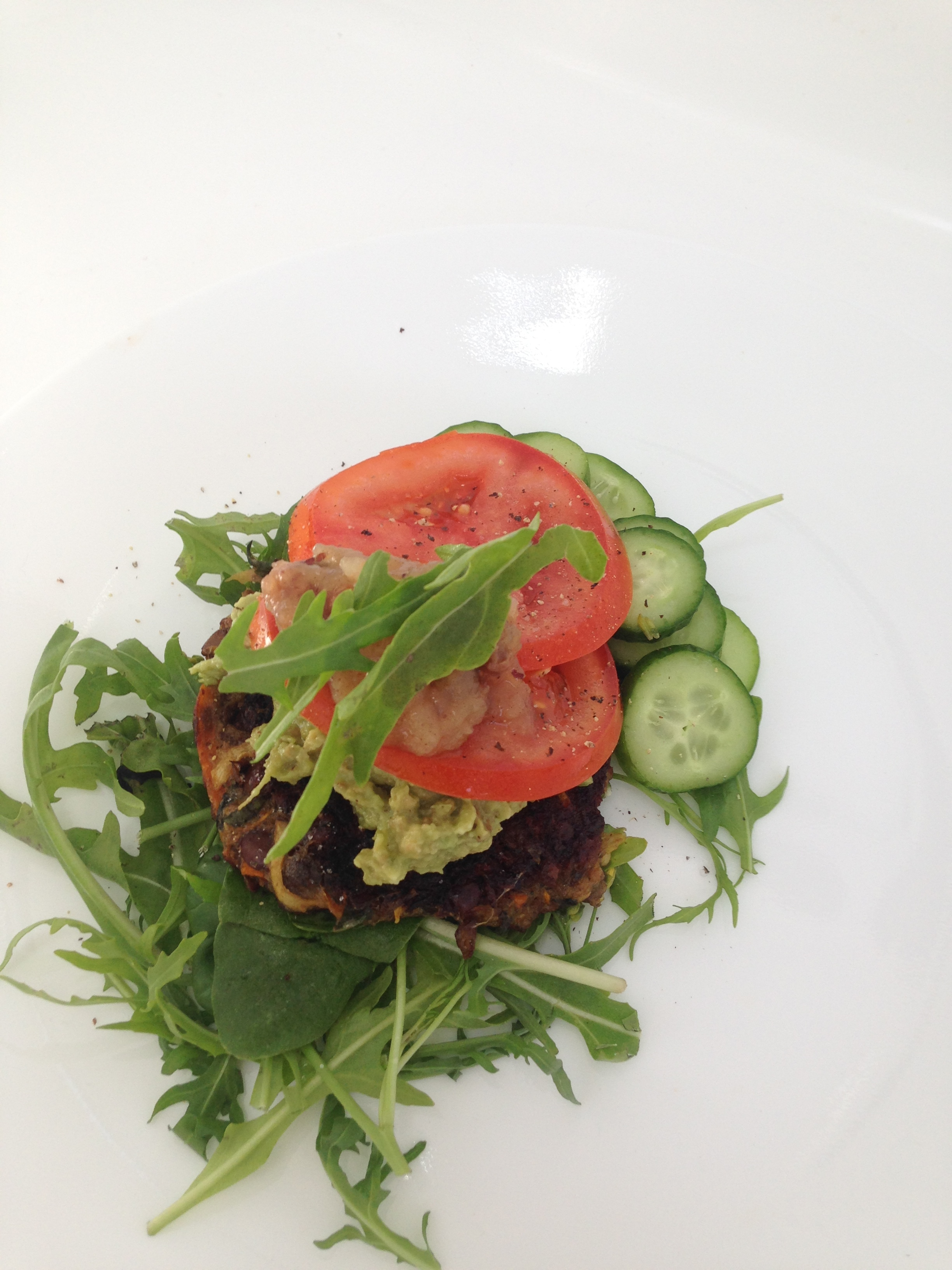 Roam made lentil and Vegetable patties , with a fresh salad ,guacamole, pear and walnut relish. My recipe is at the end of this page.