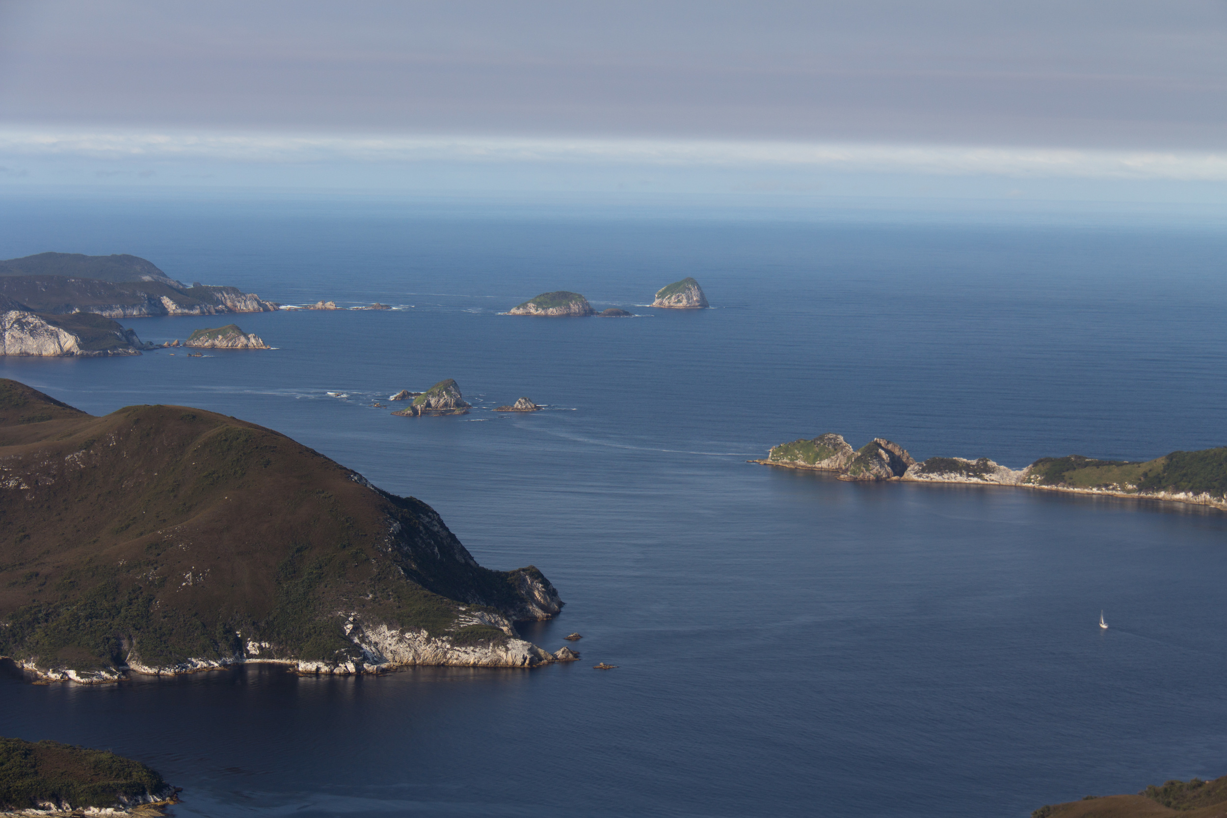 The Kamiros sailing towards the South Passage of the Bathurst Channel around the Breaksea Islands.