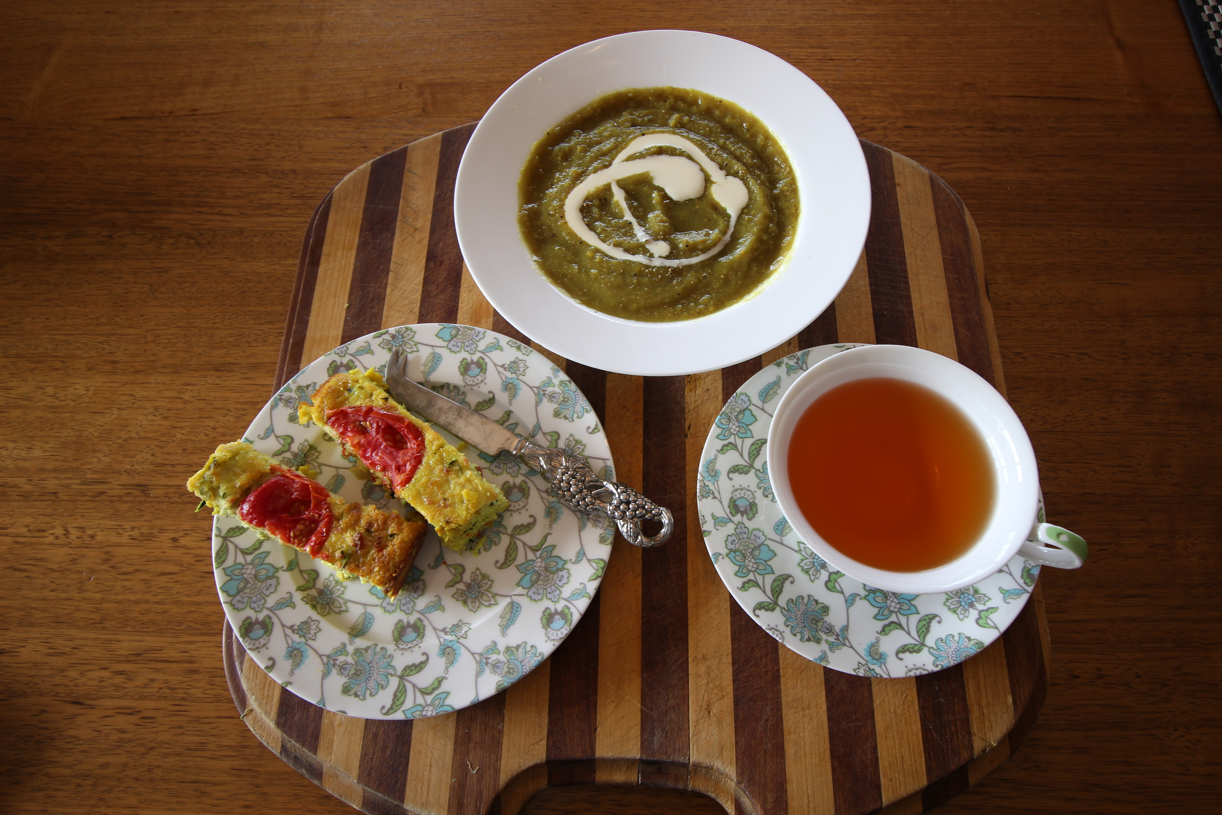 zucchini slice, zucchini and lentil soup and a cup of earl grey tea.. fair to say I think my  mum was pleased with her lunch. It tastes so good she didn't even notice there was no cheese in the slice or cream in the soup.. tricked her with some natural Jalna pot set yogurt swirled on top.