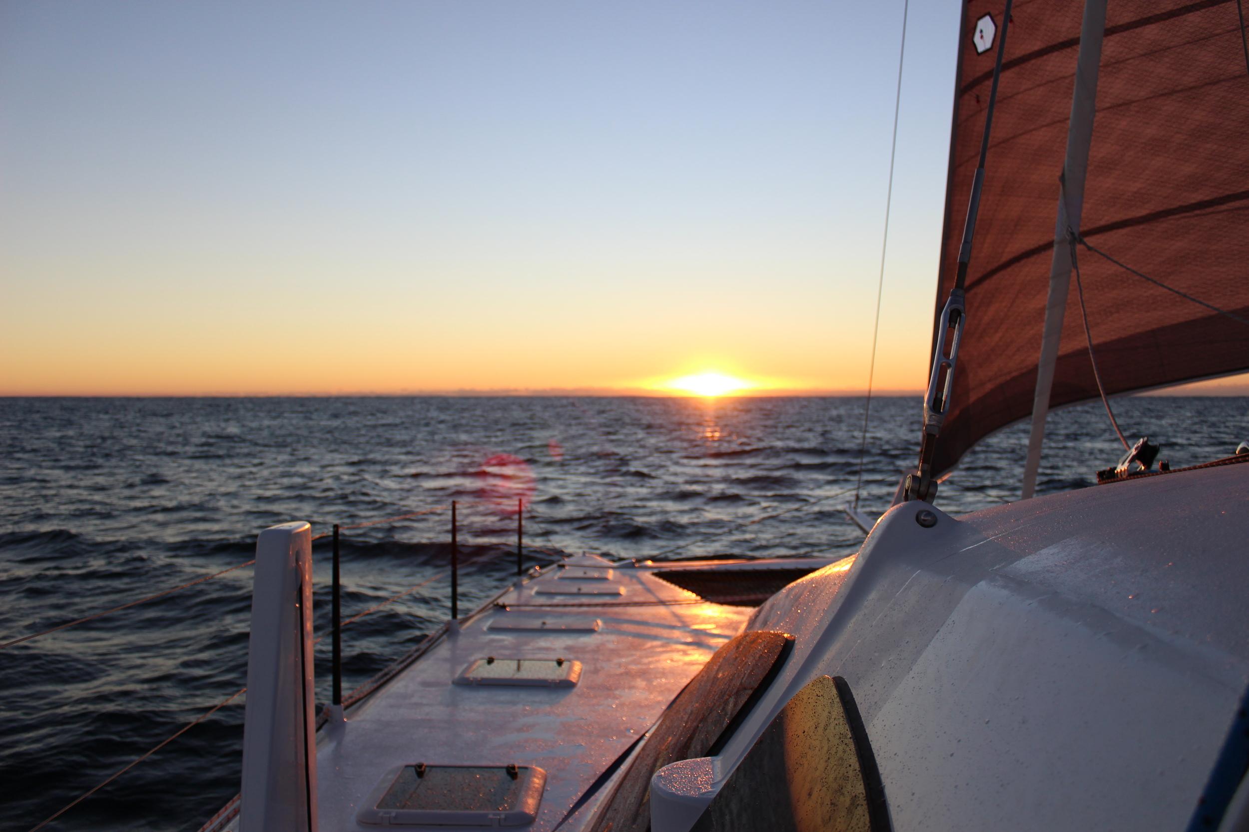 Sailing off the Australian Coast into the sunrise.