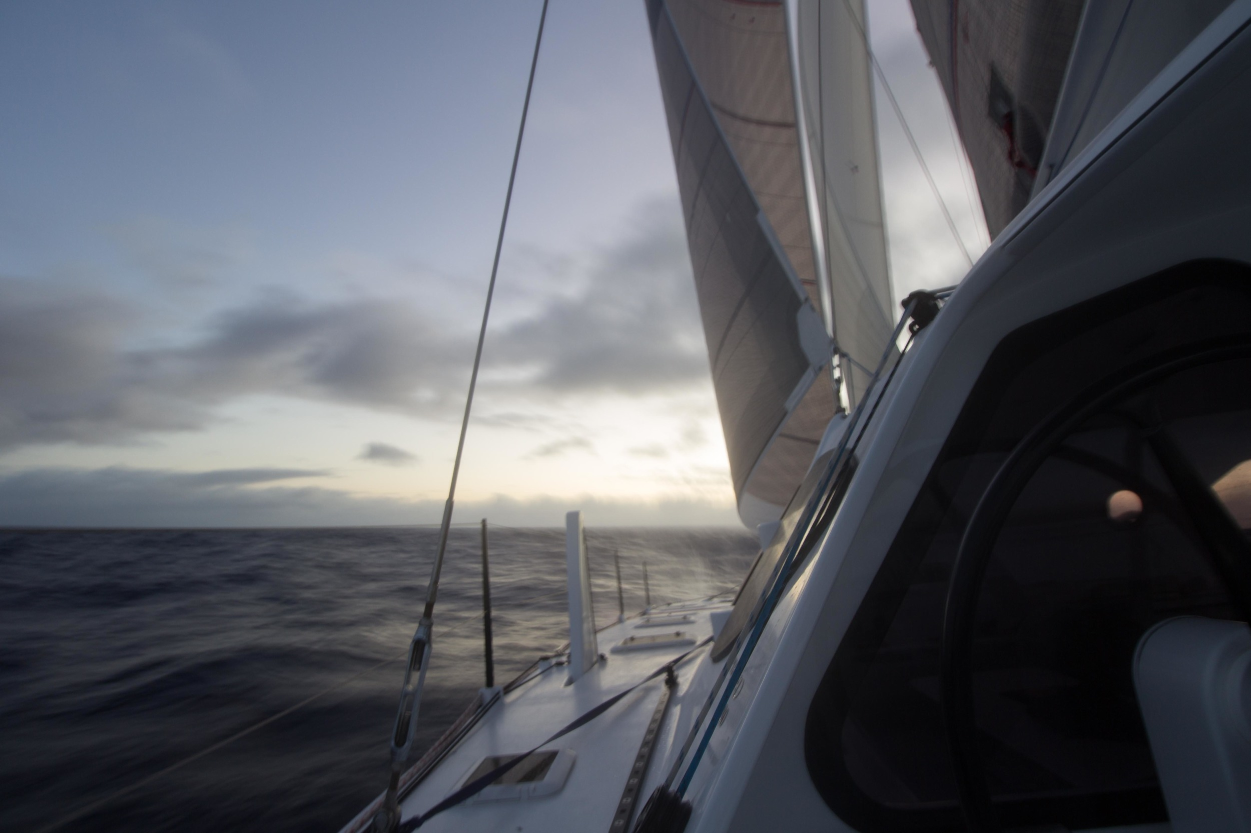 Early Friday morning as the sun is coming up, Iain and I unfurl the Genoa that we have renamed Frank, with the staysail out as well, we are sailing along at around 11 - 15 knots.