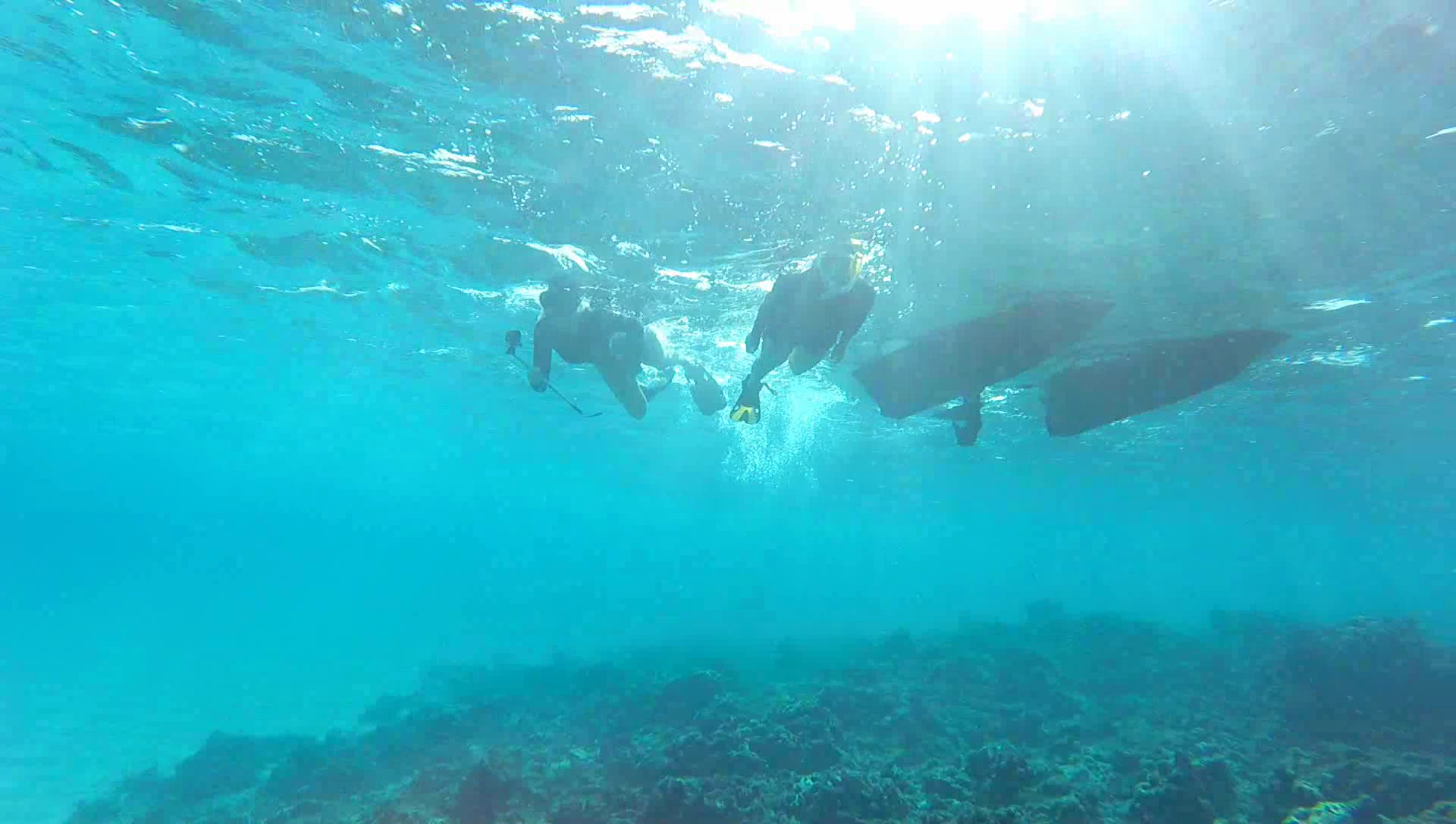 Holly and I snorkeling, the water is so clear.