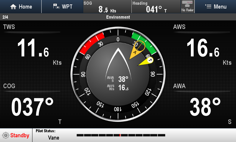 This screen shot was taken whilst sailing upwind offshore with full Mainsail and Genoa. Light seastate. The TWS indicator is a little off. It bounces around alot as the speed log moves through the waves.