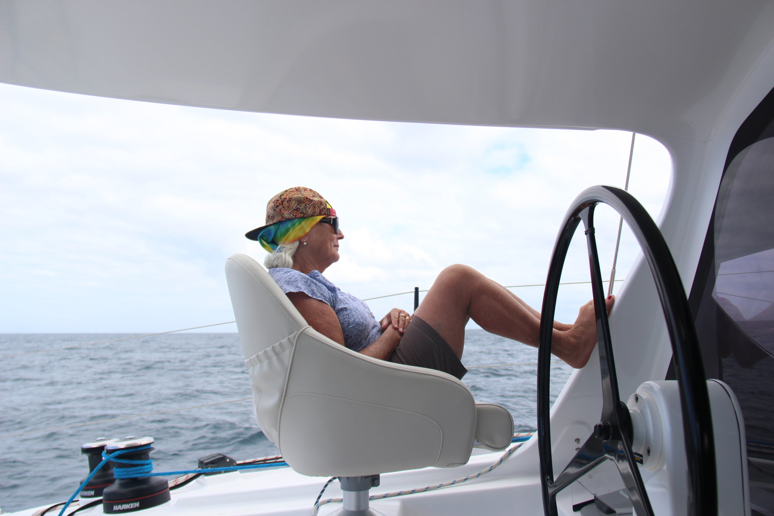 Lois sporting a look that Andy has given her... #boatlife.