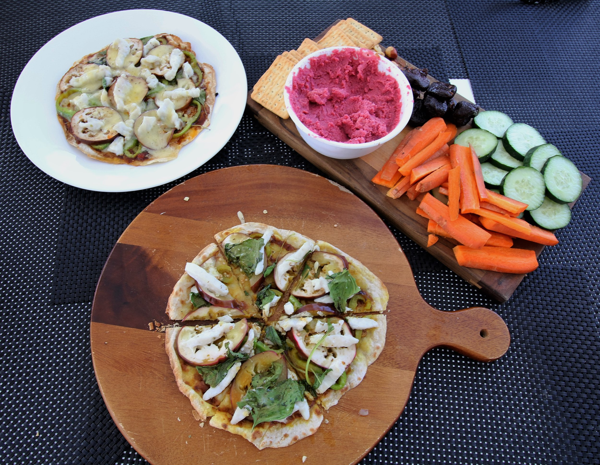 A typical Roam slap together feast. Rotti base pizzas with Spanish mackerel caught in Fijian waters and a raw veg patter with beetroot dip. I hope you didn't miss your red meat and sugar whilst on board for ten days Bronc ;)