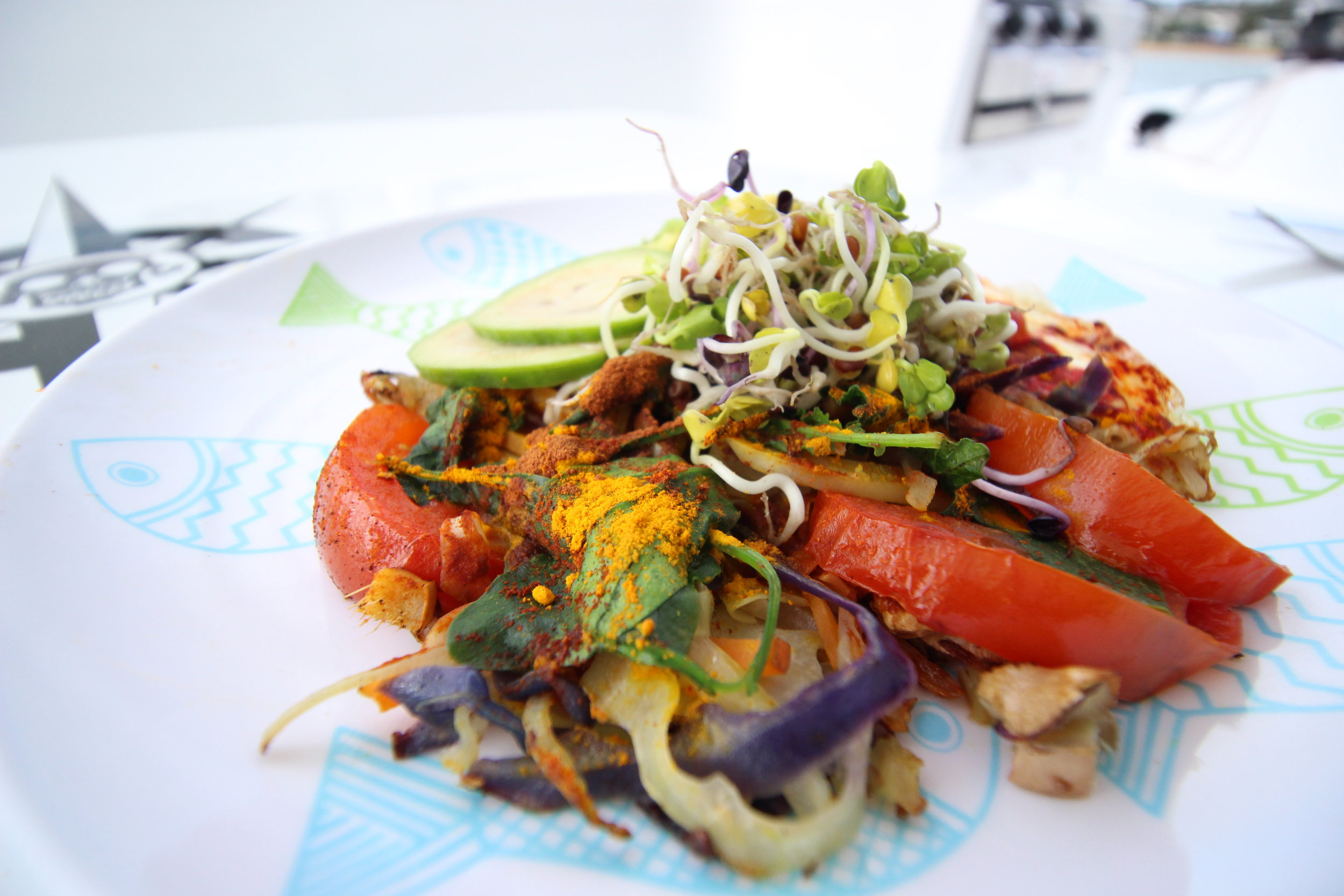 """A typical first meal of the day for us, some would call it """"breakfast"""". A plate full of goodness, vegetables, healthy fats and protein topped with tumeric."""