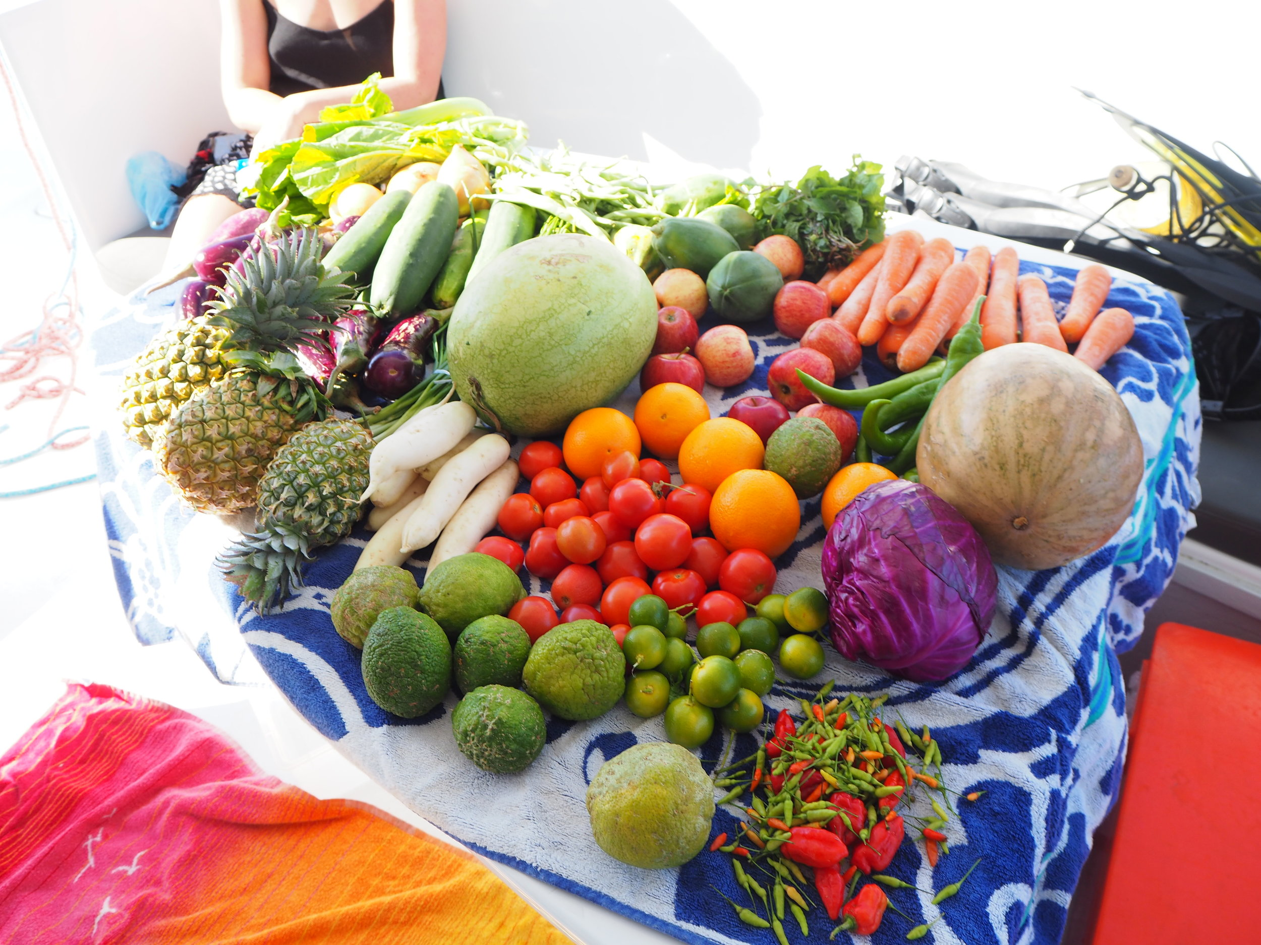 Provisioning for six people, market haul in Fiji
