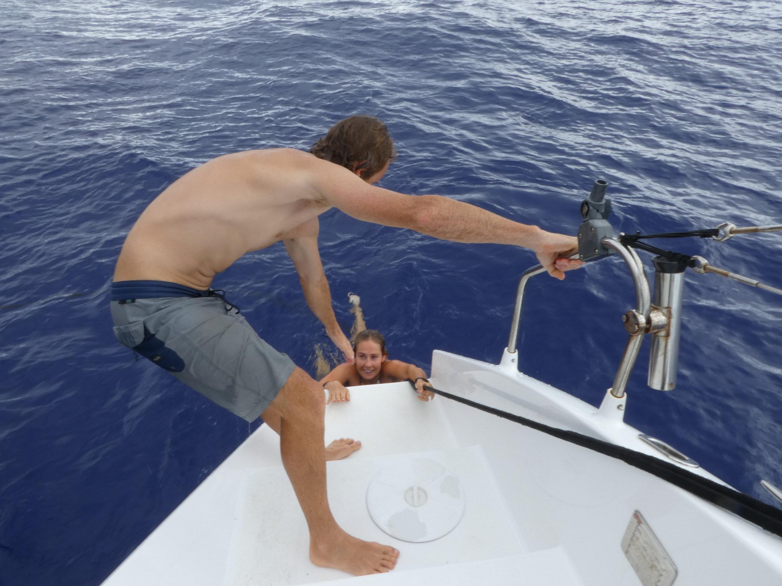 Michael and Liss deep sea swimming