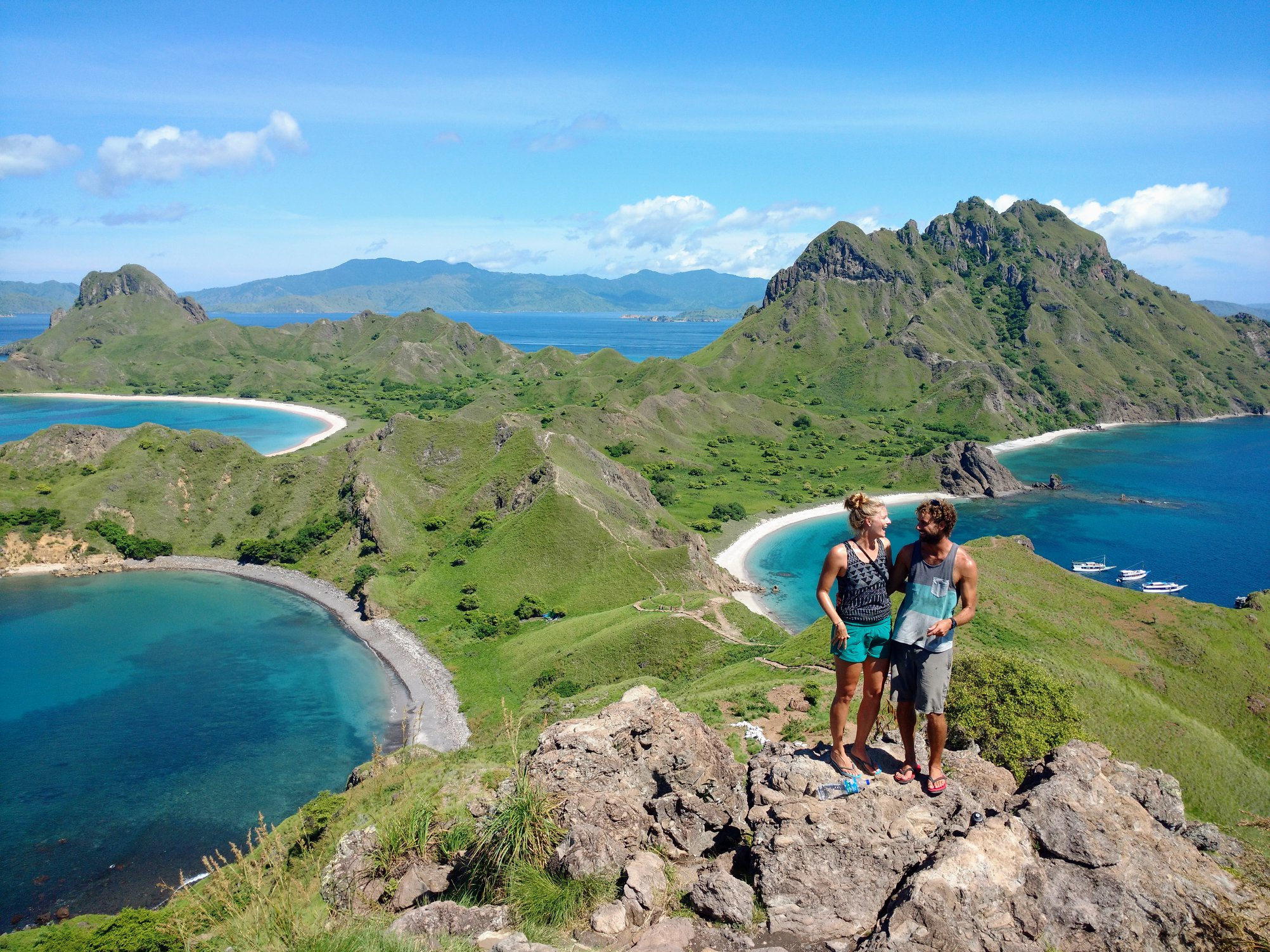 "Estelle and I ""enjoying the view"" on one of the Islands off the coast of Flores, Indonesia."