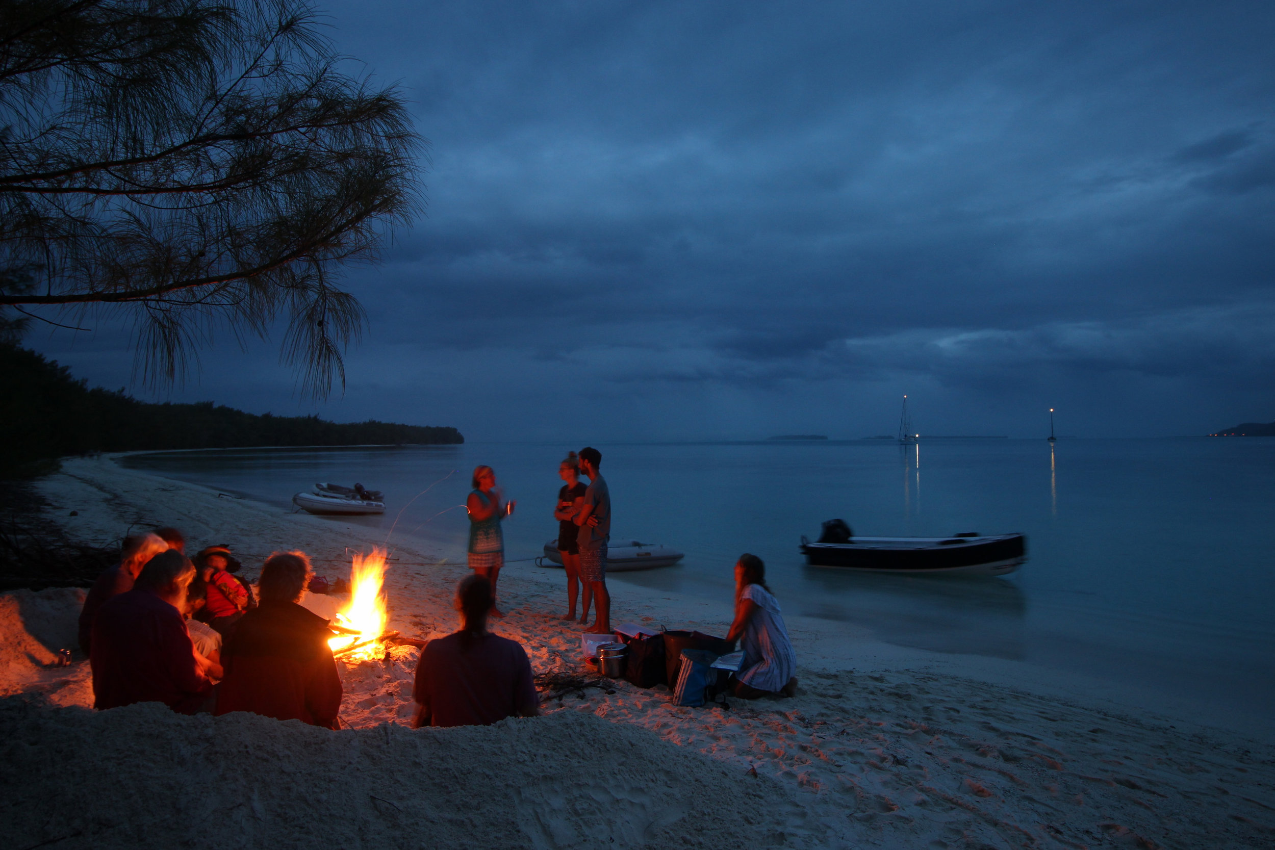 Nights spent around the camp fire on the beach with guitar, sing along and pot luck