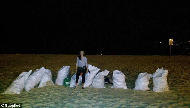 Me at 2am on Coogee Beach, after a mega Christmas Party Rave left over 30,000 bottles on the beach (my estimate).