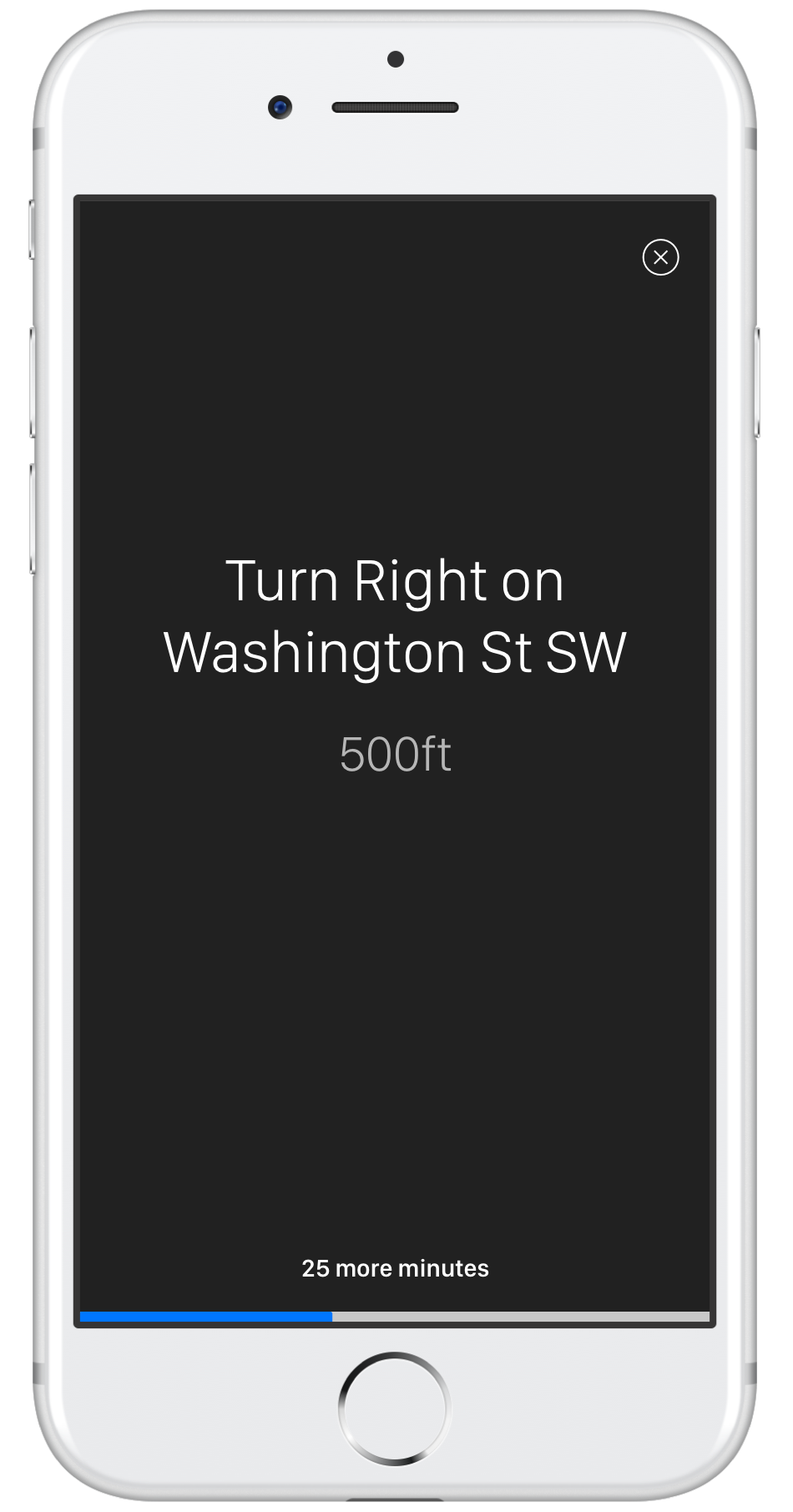 "The goal is to force the user to pay at- tention to roads and street signs around them instead of blindly follow the GPS, by removing information. This app does break our own ""rule"" of no text, but is extremely simple."