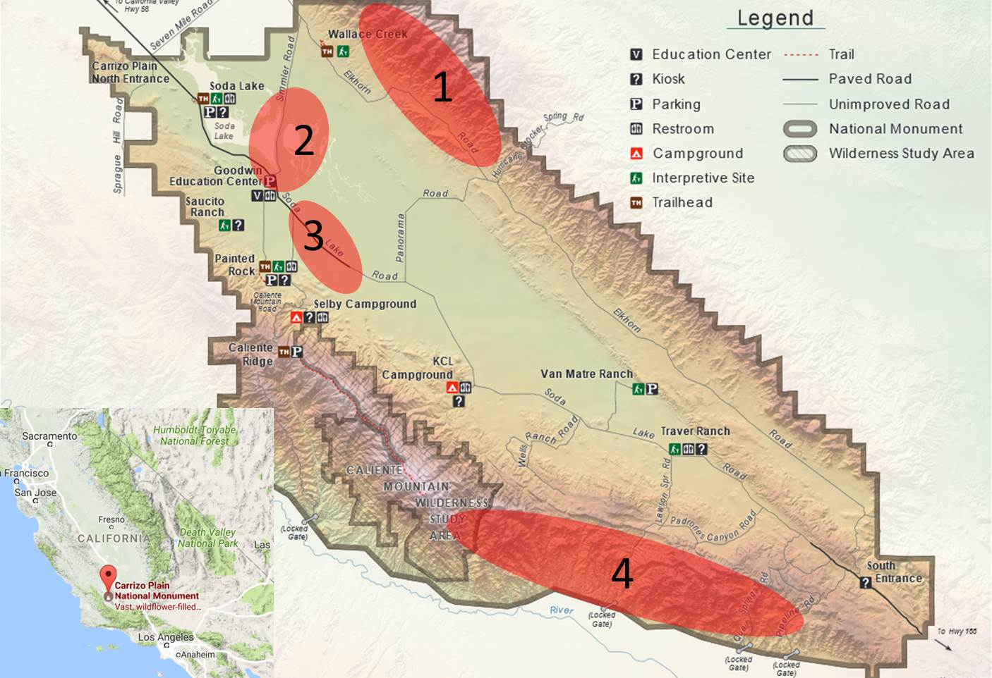 Bureau of Land Management map of Carrizo Plain with 4 areas of interest for wildflower viewing highlighted. Zone 1 is the Temblor Range, Zone 2 is Soda Lake Area, Zone 3 is the roadside near Selby Campground and Zone 4 is the southern extent of the Caliente Range.