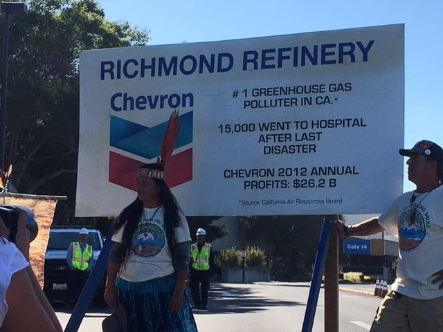 Gloria Ushigua Santi at the Chevron Refinery. Photo: Constance Taylor