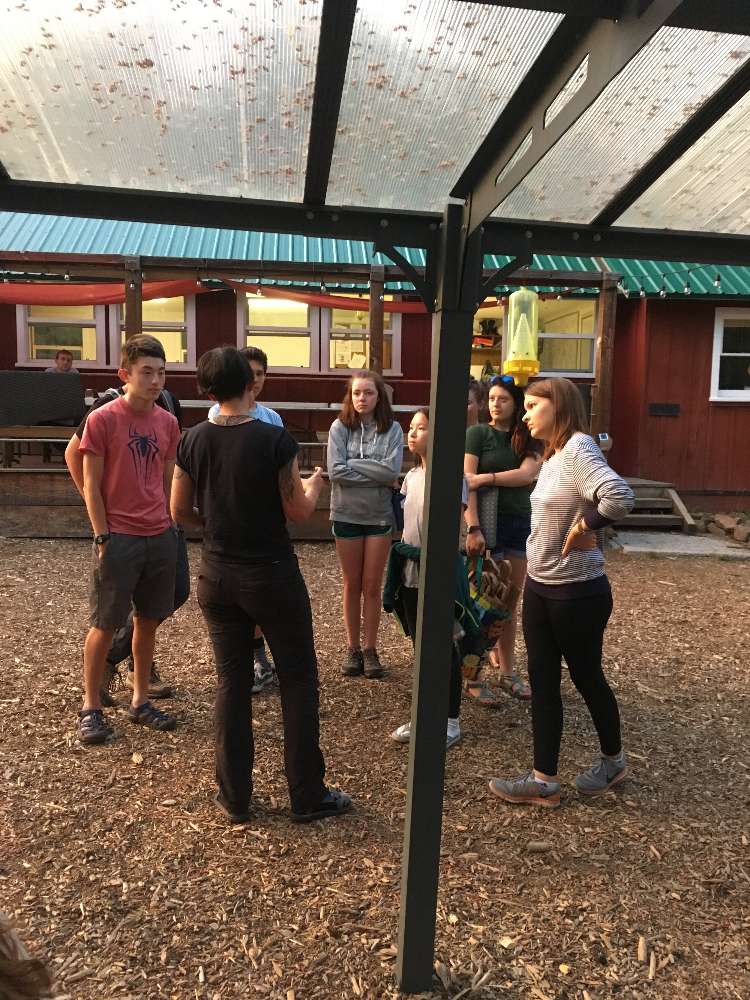 Talking to a high school group who was also at Sagehen Creek Field Station- Constance was trying to get them to eat some tasty fried crickets (they eventually did)! Photo by Angela Pai