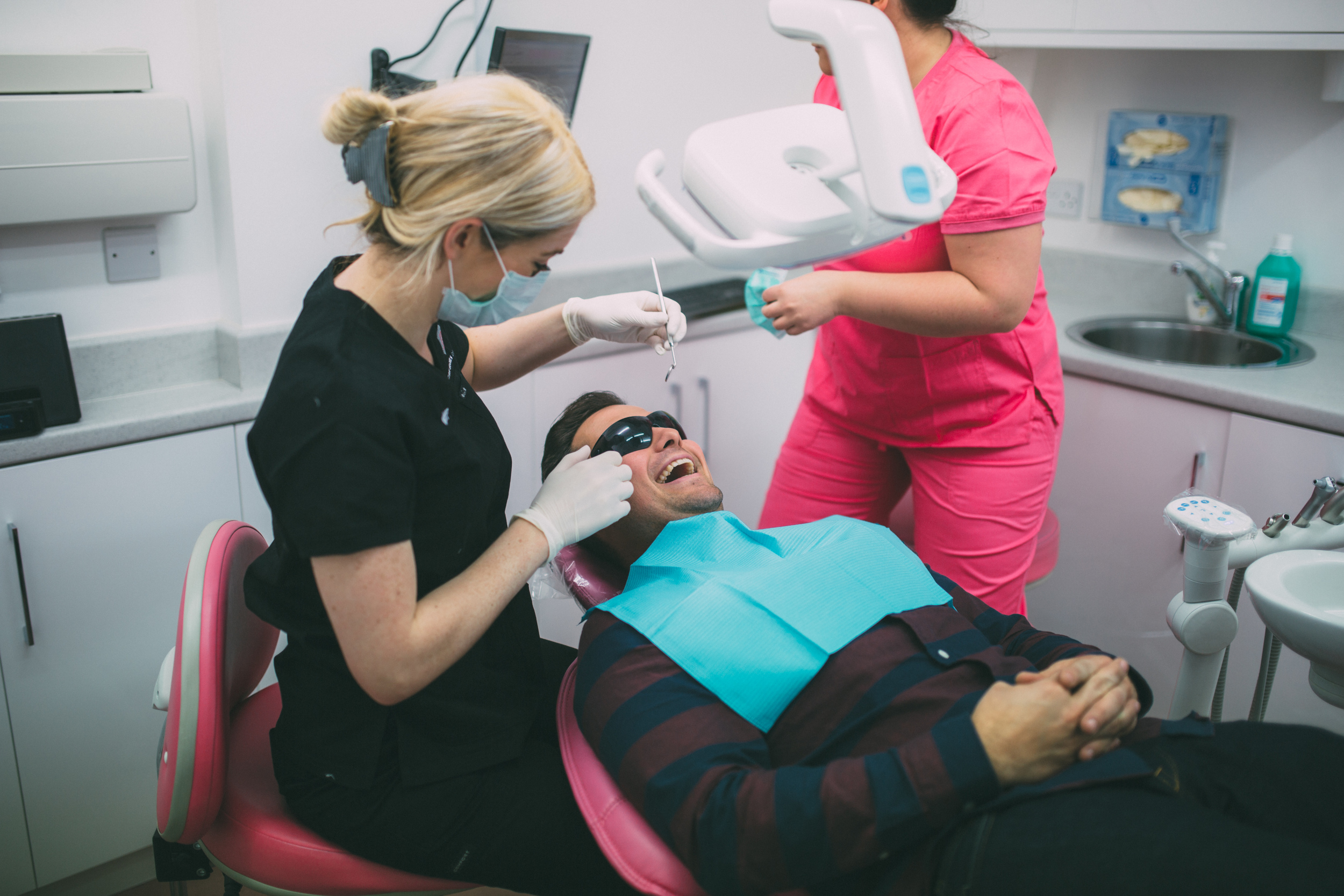 Dr Kathryn Boyce making a patient feel at ease at Claire Hughes Dental