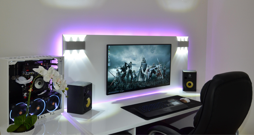 I know this setup is likely designed for gaming and not work, but I'm a fan anyway. I love everything from the lighting to the orchid and bet those speakers can pump out the jams. Also, this might be the one time I'd forgo another monitor since it's clear this widescreen setup is adequate.