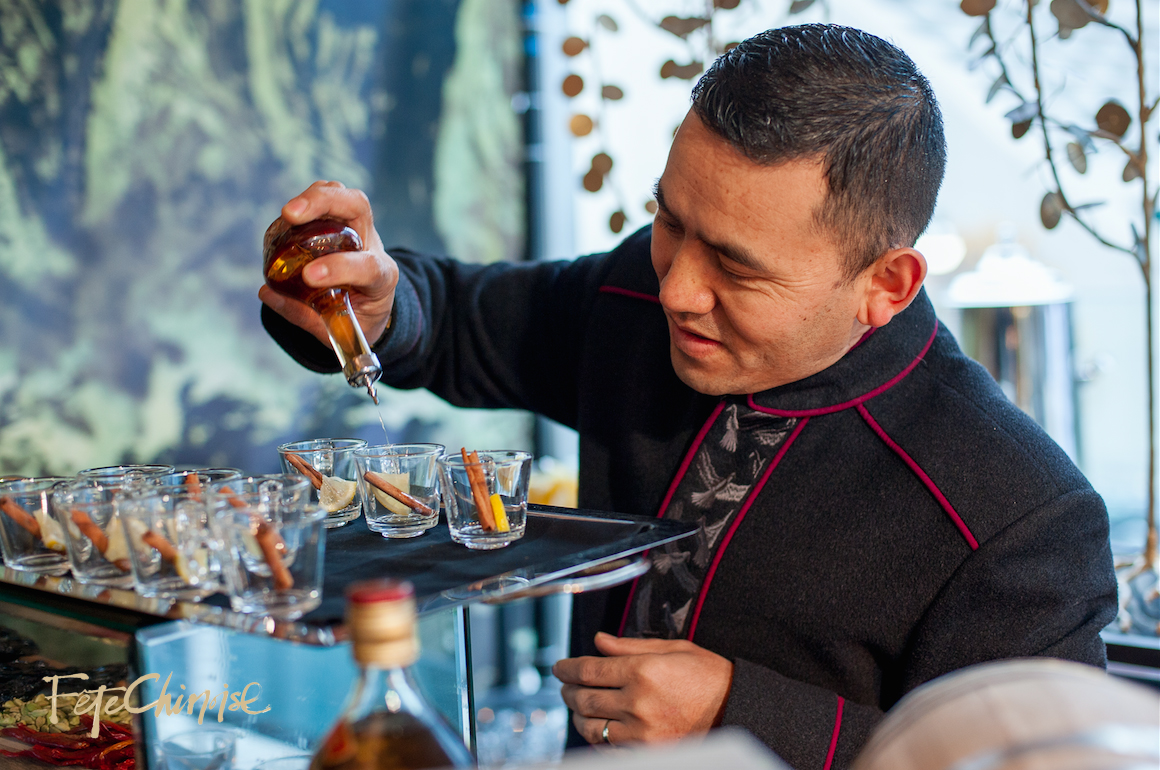 The Shangri-La Hotel, Toronto serving drinks for Afternoon Tea inside the Penjing Porcelain Garden at Fête Chinoise, designed by Anne Anderson Events.