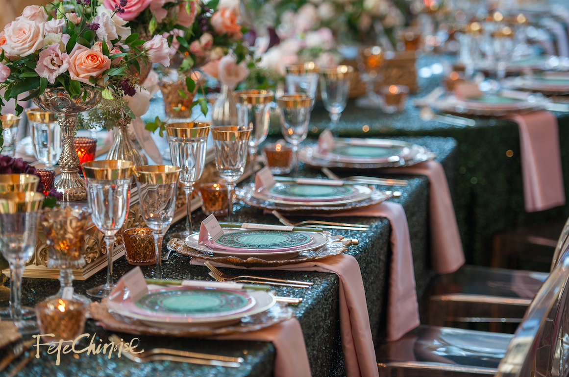 The Emperor's Fine Dining Hall inside the Museum Room: Design by  Jackie O and Bliss Toronto,  with gold chargers by Detailz Chair Couture,  linens by Linen Closet Inc.  and stationery by @Palettera Custom Correspondences. Photo by Krista Fox Photography.